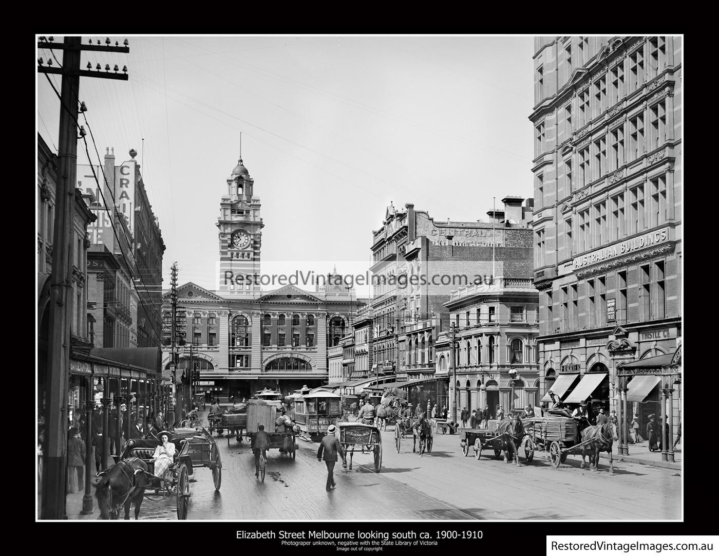 Elizabeth Street Melbourne Looking South Ca. 1900-1910