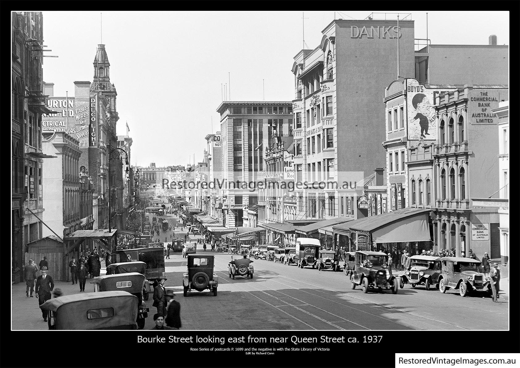 Bourke Street Looking East From Near Queens Street Ca. 1937