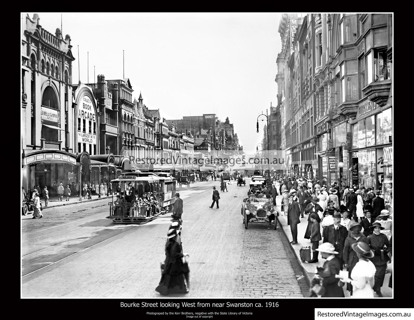 Bourke Street Looking West From Near Swanston Street Ca. 1916