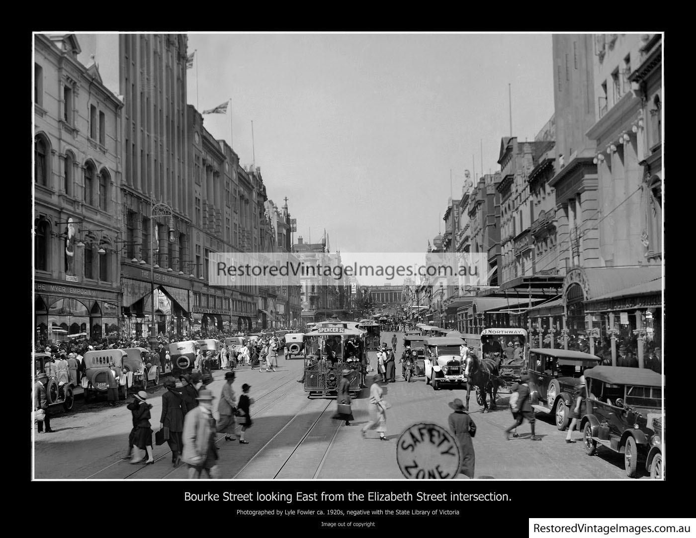 Bourke Street, Looking East From Elizabeth St 1920s