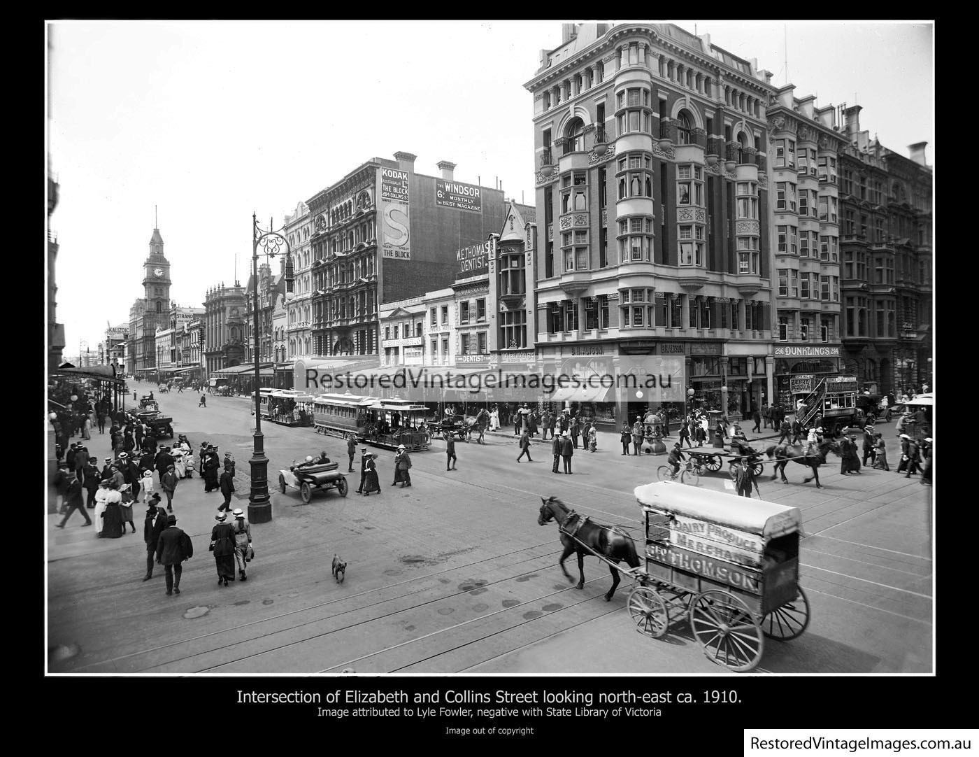 Corner Of Collins And Elizabeth Streets Looking NE 1910s