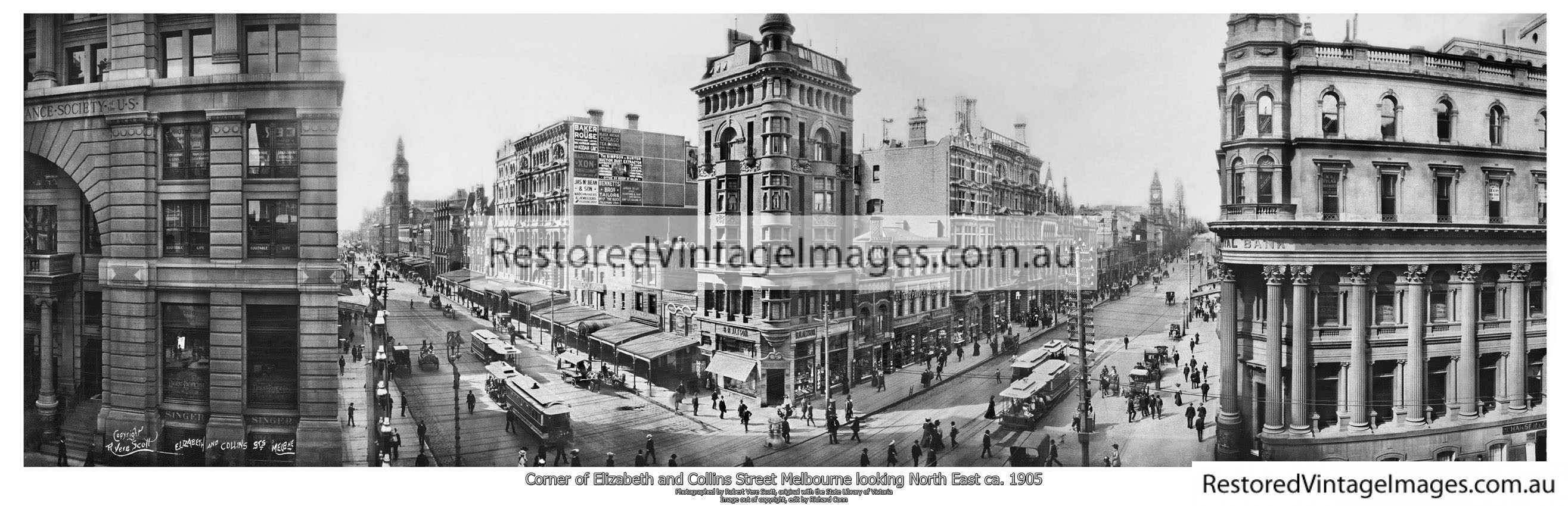 Collins And Elizabeth Street Panoramic View Of The Corner 1905