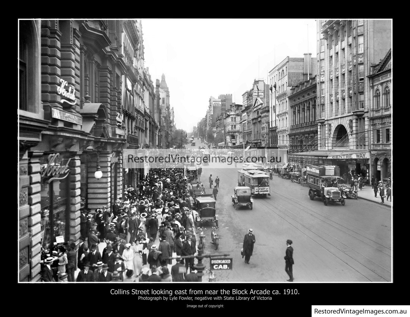 Collins St From Elizabeth Looking To Spring Street Ca. 1910