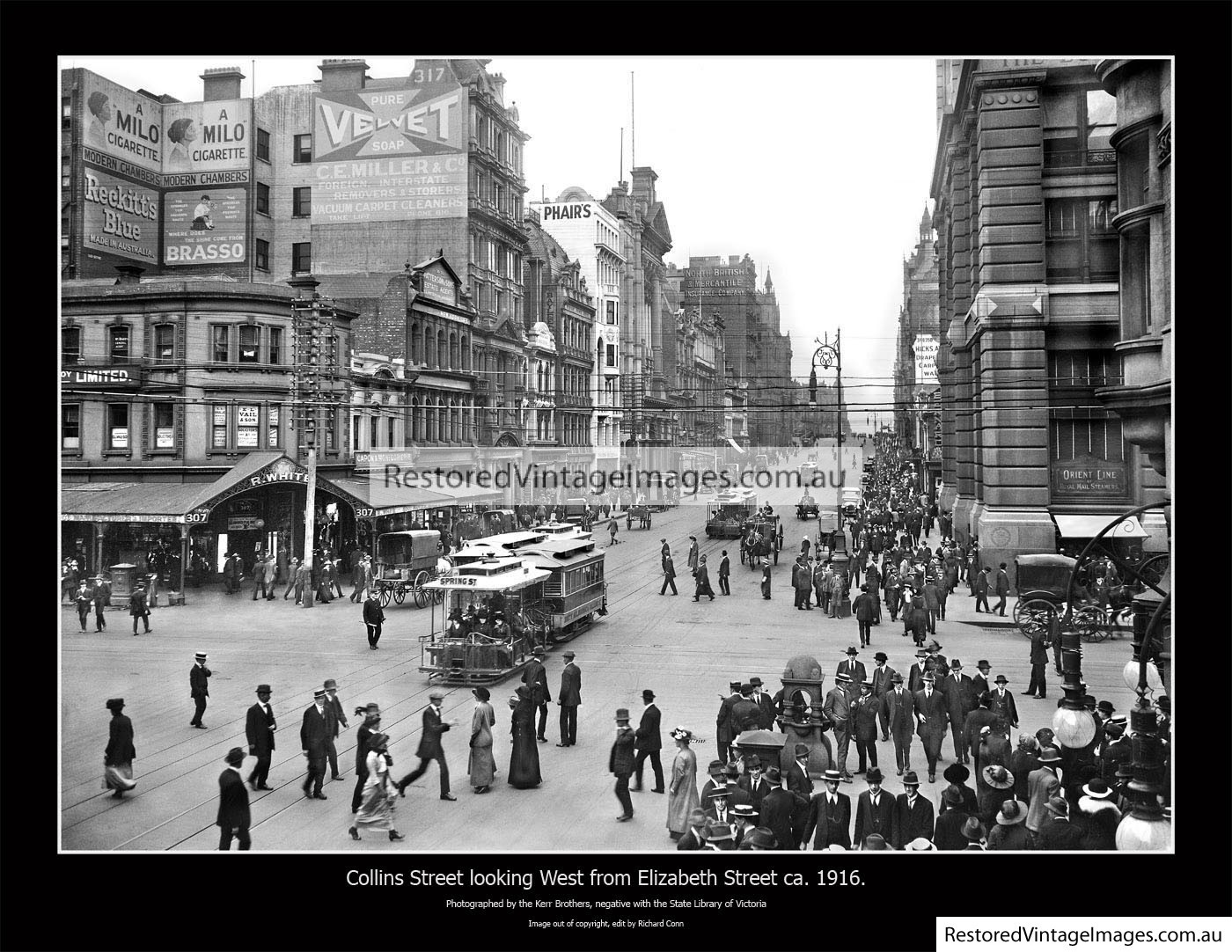 Collins St Looking West From Elizabeth Ca.1916