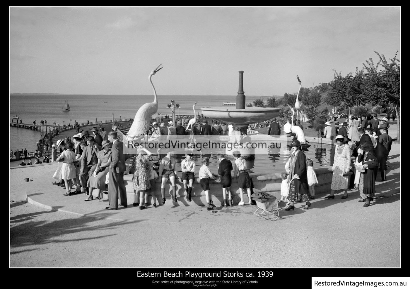 Eastern Beach Playground And Fountain Ca.1939
