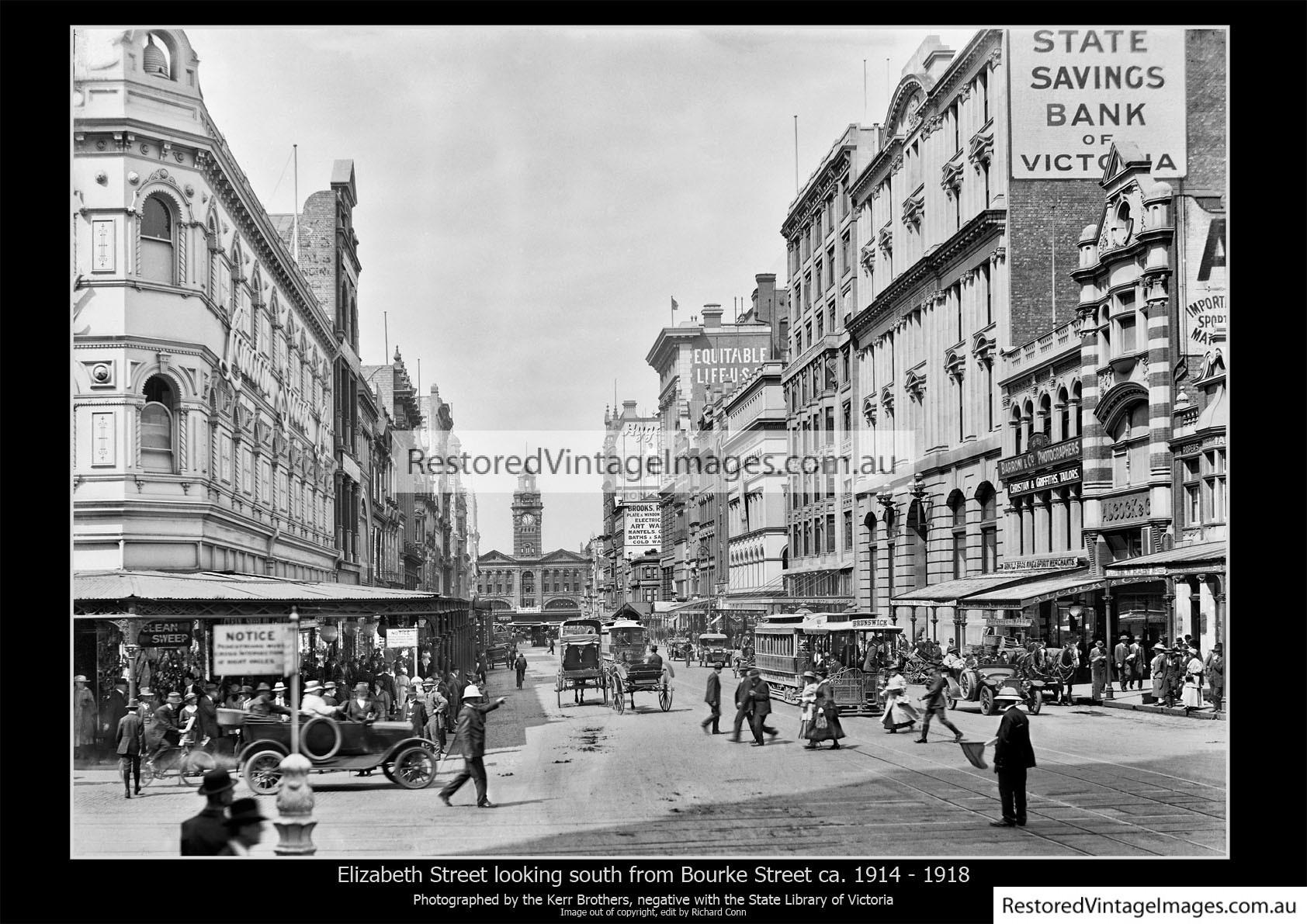 Elizabeth St Looking South From Bourke 1914-18
