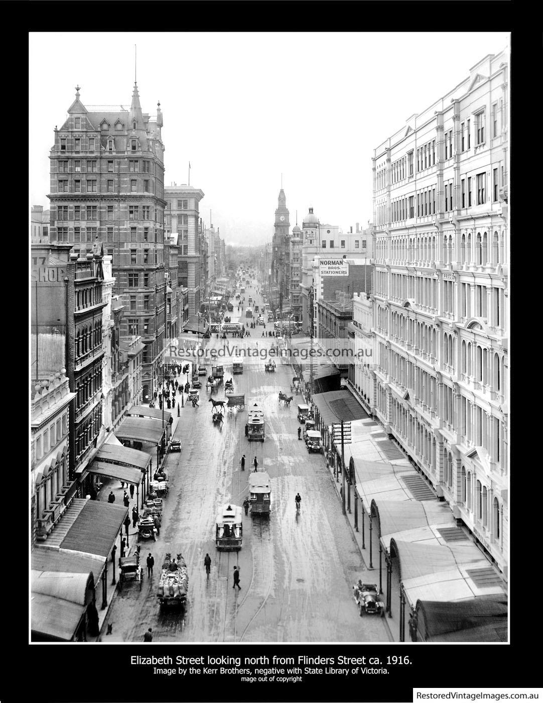 Elizabeth Street Melbourne Looking North 1916