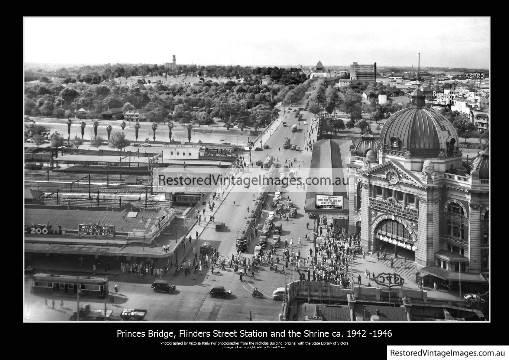 Flinders Street Station Looking South To The Shrine 1942-46