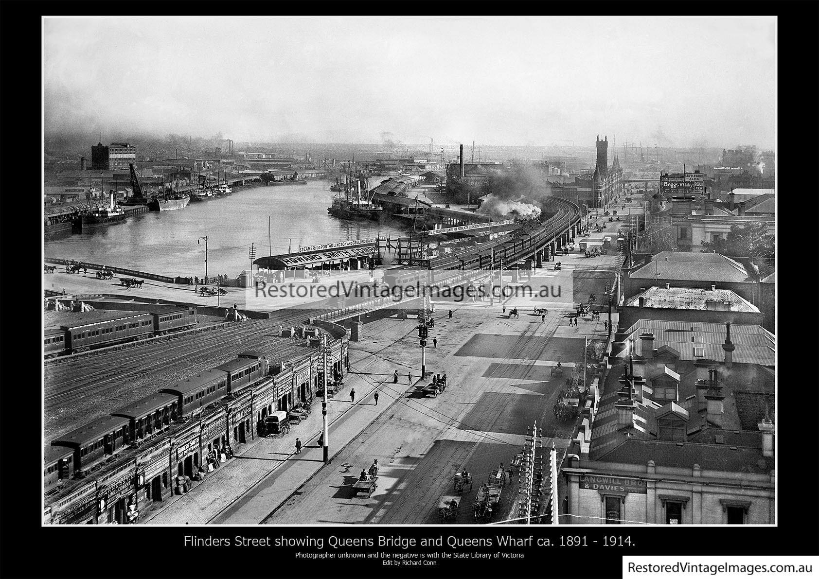 Flinders Street Looking West Showing The Turning Basin 1891- 1914