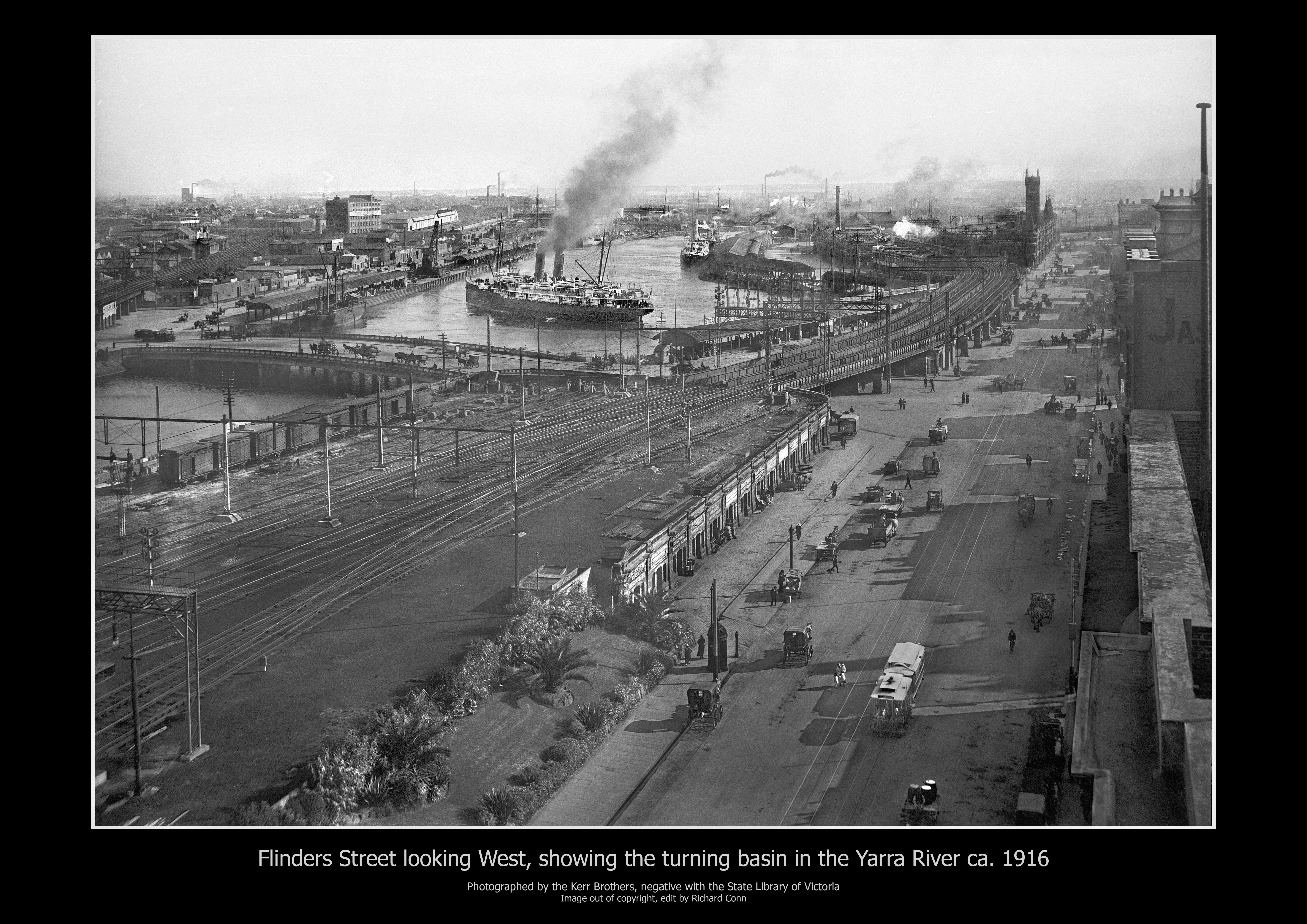 Flinders Street Looking West  Showing The Turning Basin 1916
