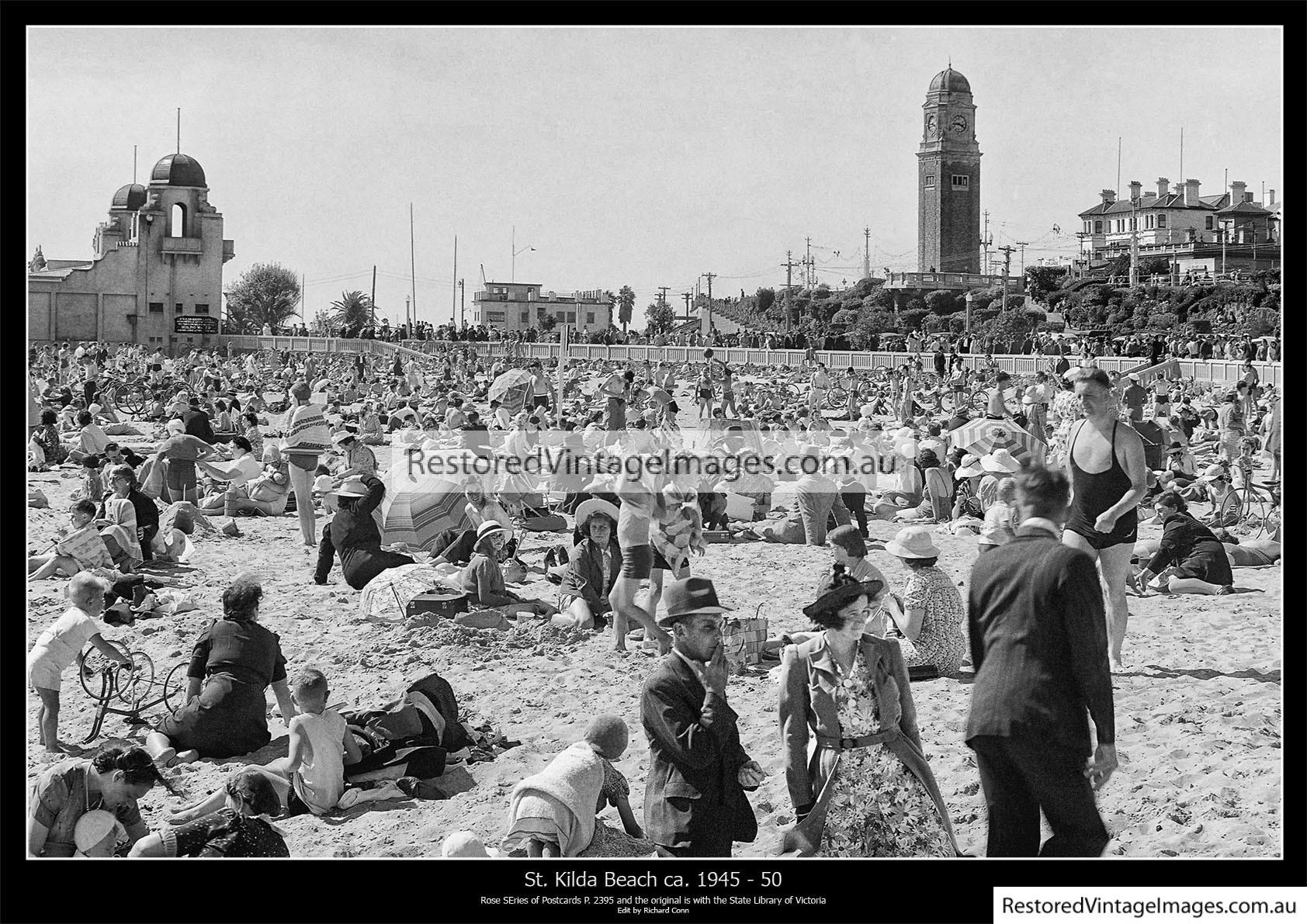 St Kilda Beach Crowds 1945-50