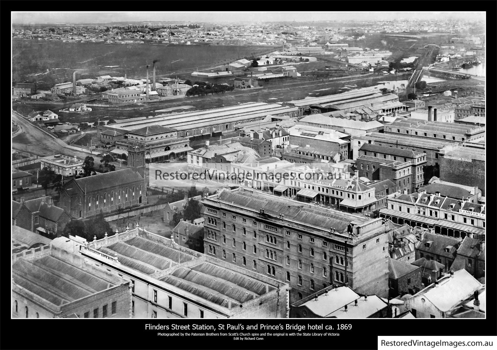 Elevated View Of Flinders St Over The Fish Market 1869 Looking SW Over Princes Bridge Hotel