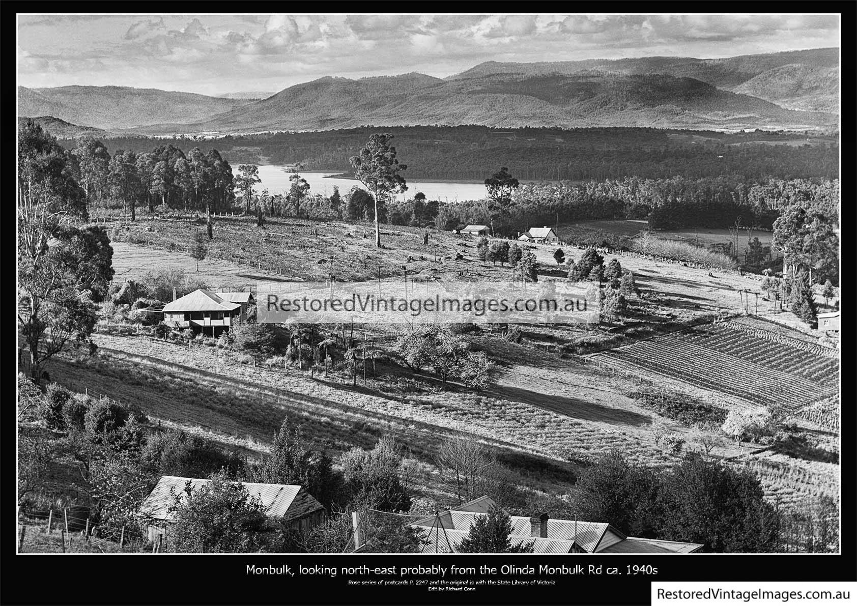 Monbulk, Looking North East Across The Silvan Reservoir Ca. 1940s