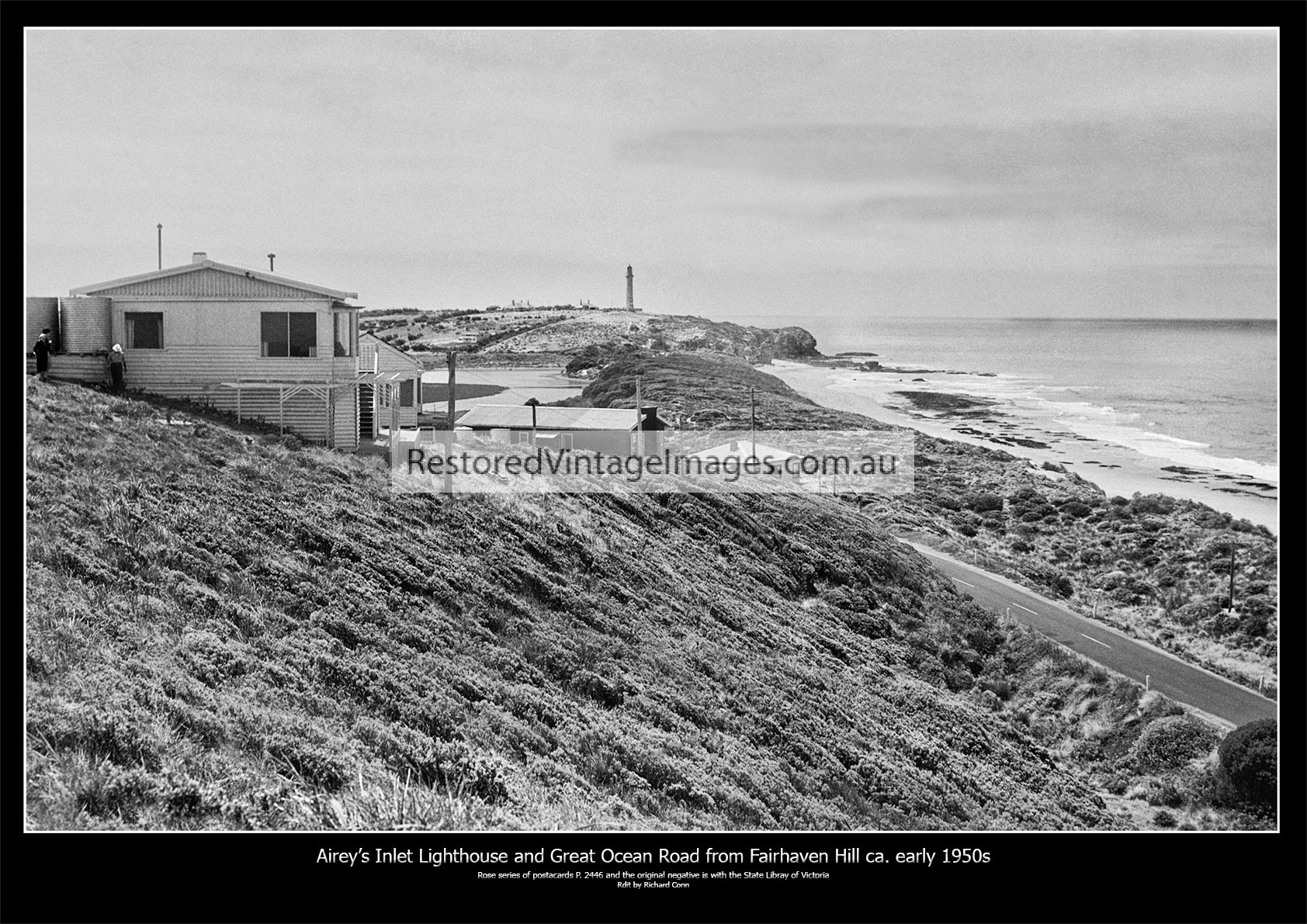 Aireys Inlet Lighthouse And Great Ocean Road From Fairhaven Hill Early 1950s