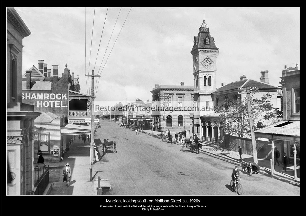 Kyneton, Looking South Along Mollison Street Ca. 1920s