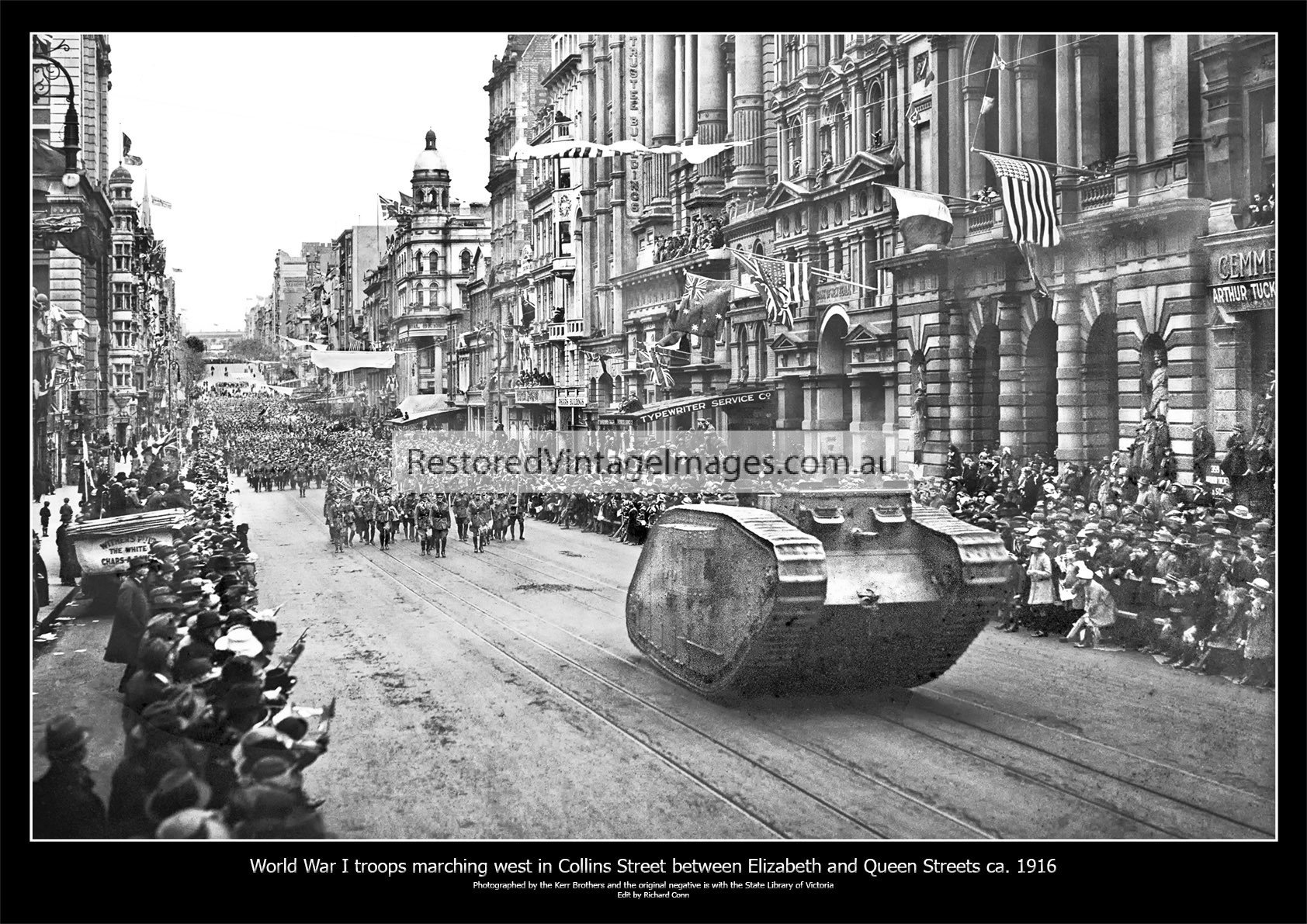Soldiers Marching Behind A Lozenge Tank In Collins Street WW1