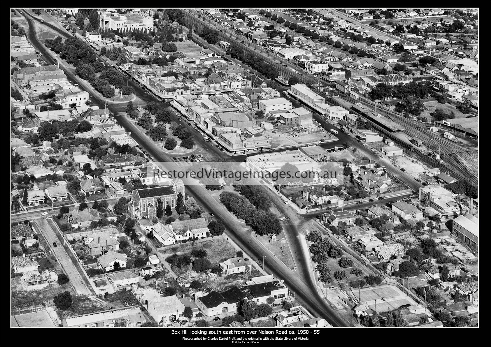 Box Hill Aerial, Looking South East From Above The Junction Of Nelson And Whitehorse Roads Ca. 1950-55