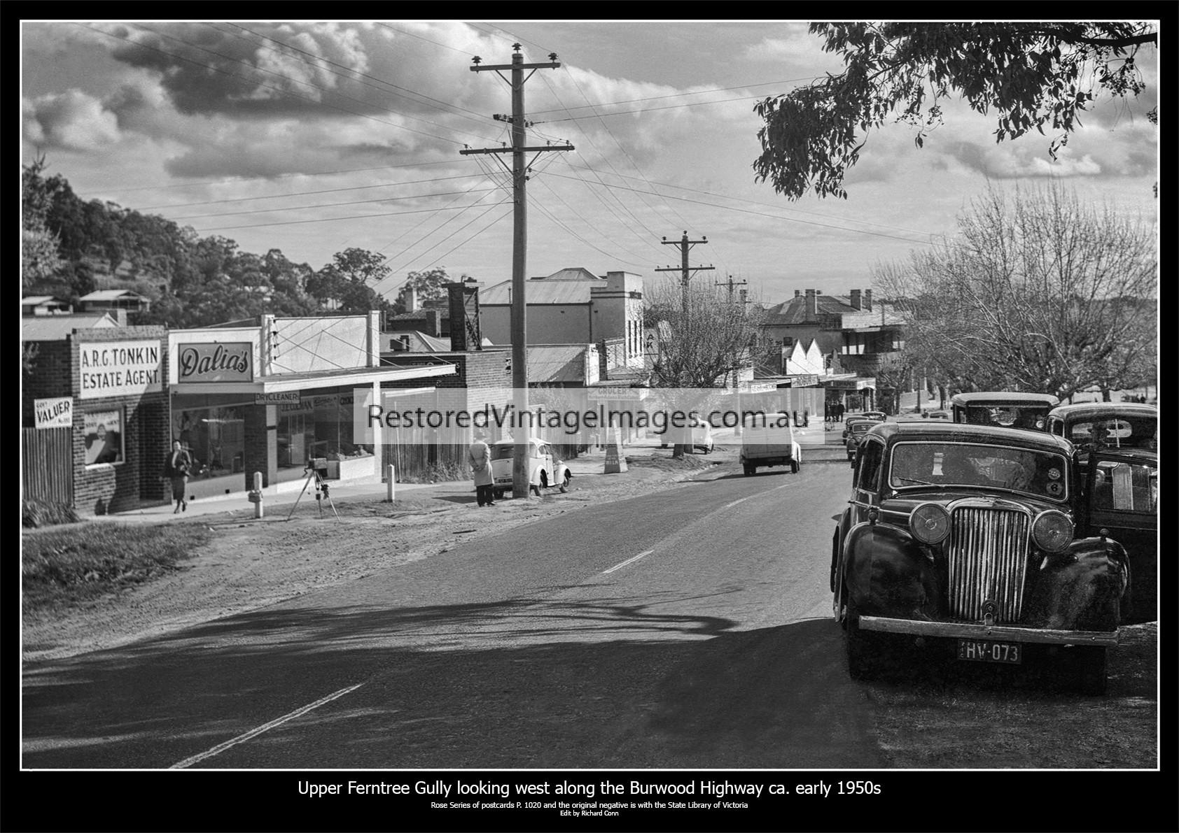 Upper Ferntree Gully, Looking West Along Main Road (Burwood Highway) Ca. 1950