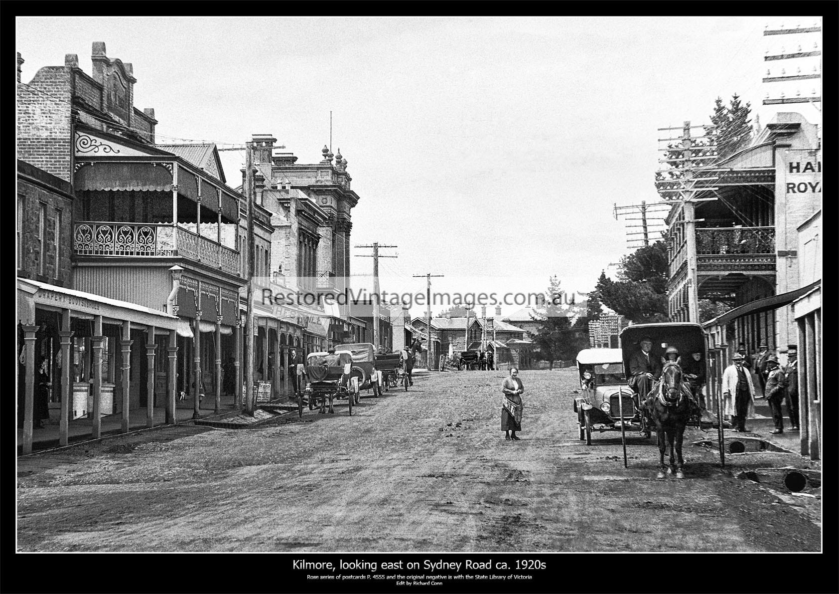 Kilmore, Looking East Along Sydney Street Ca. 1920