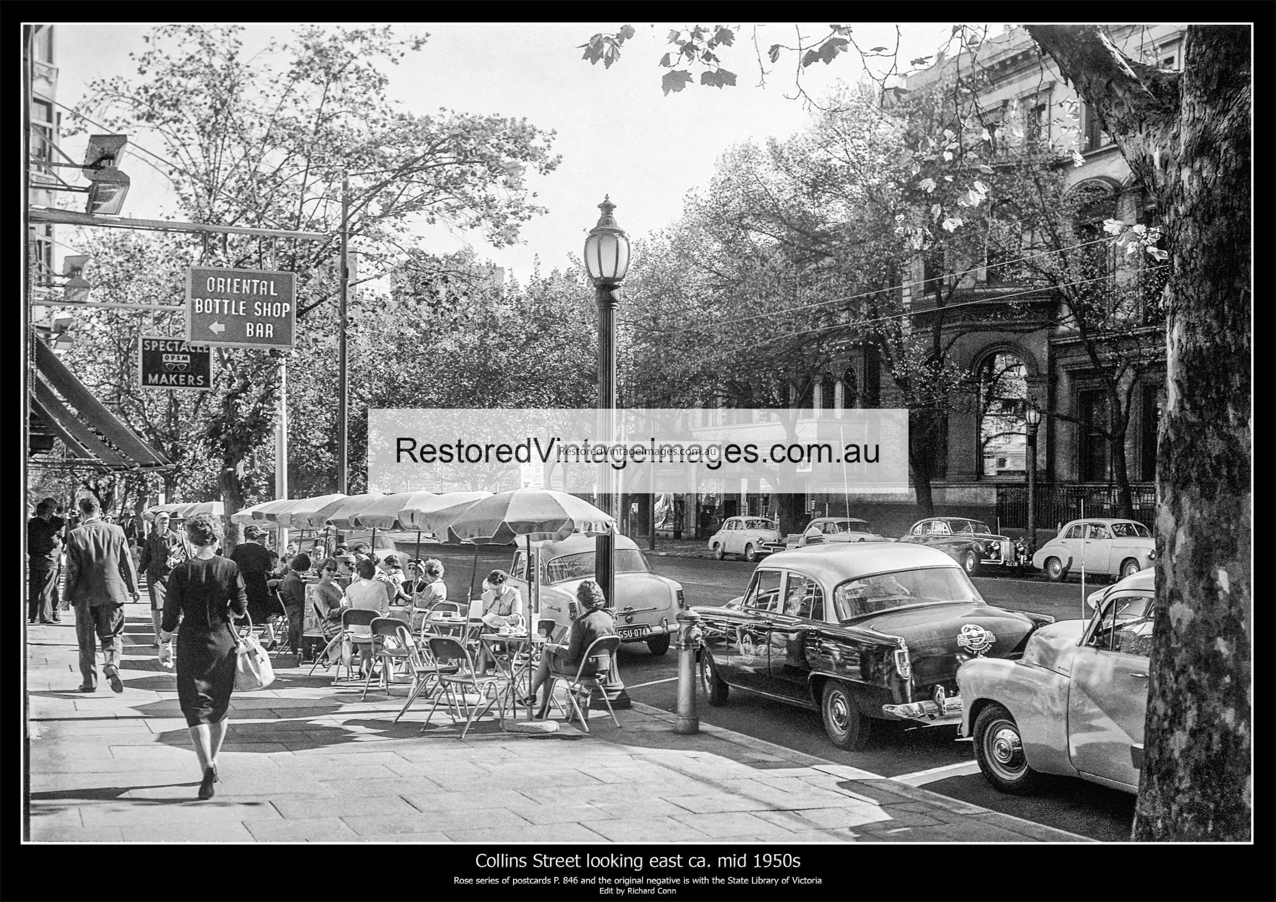 Footpath Cafe On Collins Street Ca. Mid 1950s