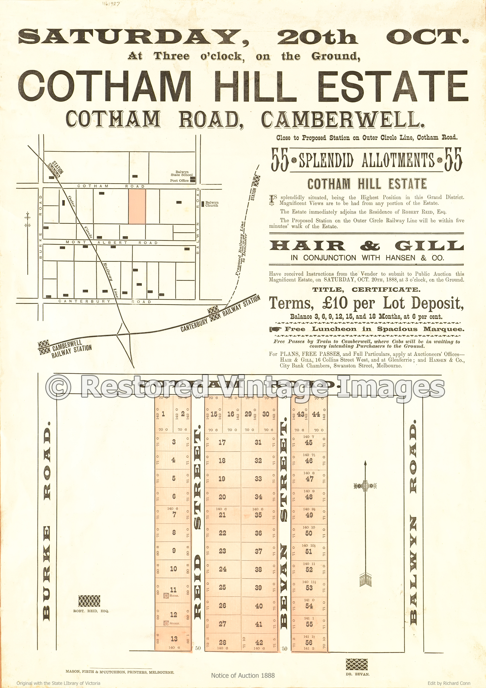 Cotham Hill Estate Camberwell 20th October 1888 – Balwyn