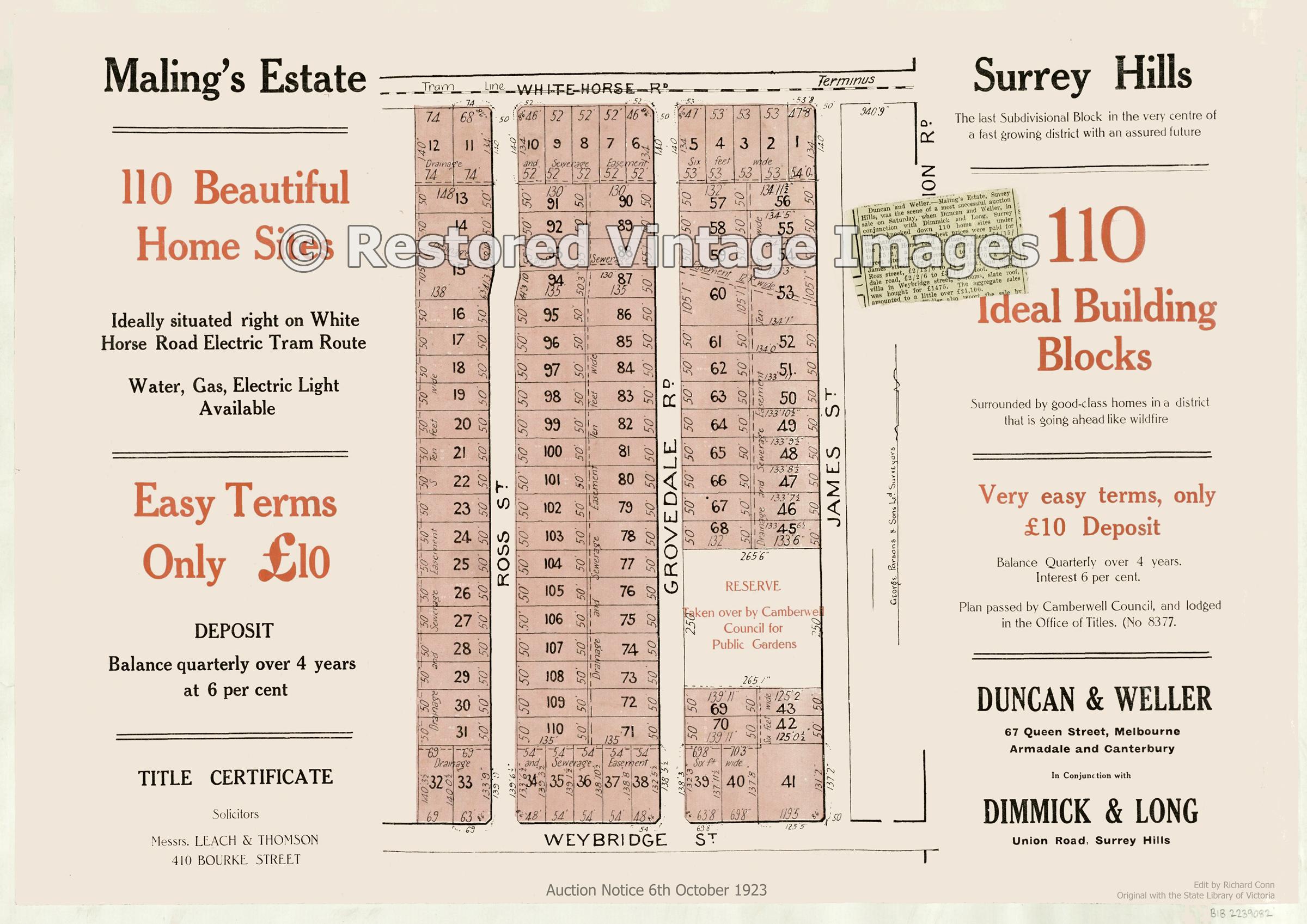 Maling's Estate 6th October 1923 – Surrey Hills