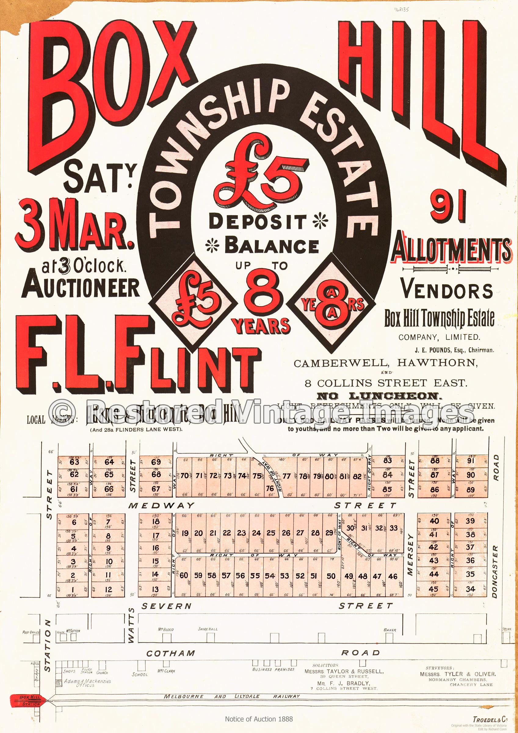 Box Hill Township Estate 3rd March 1888 – Box Hill North
