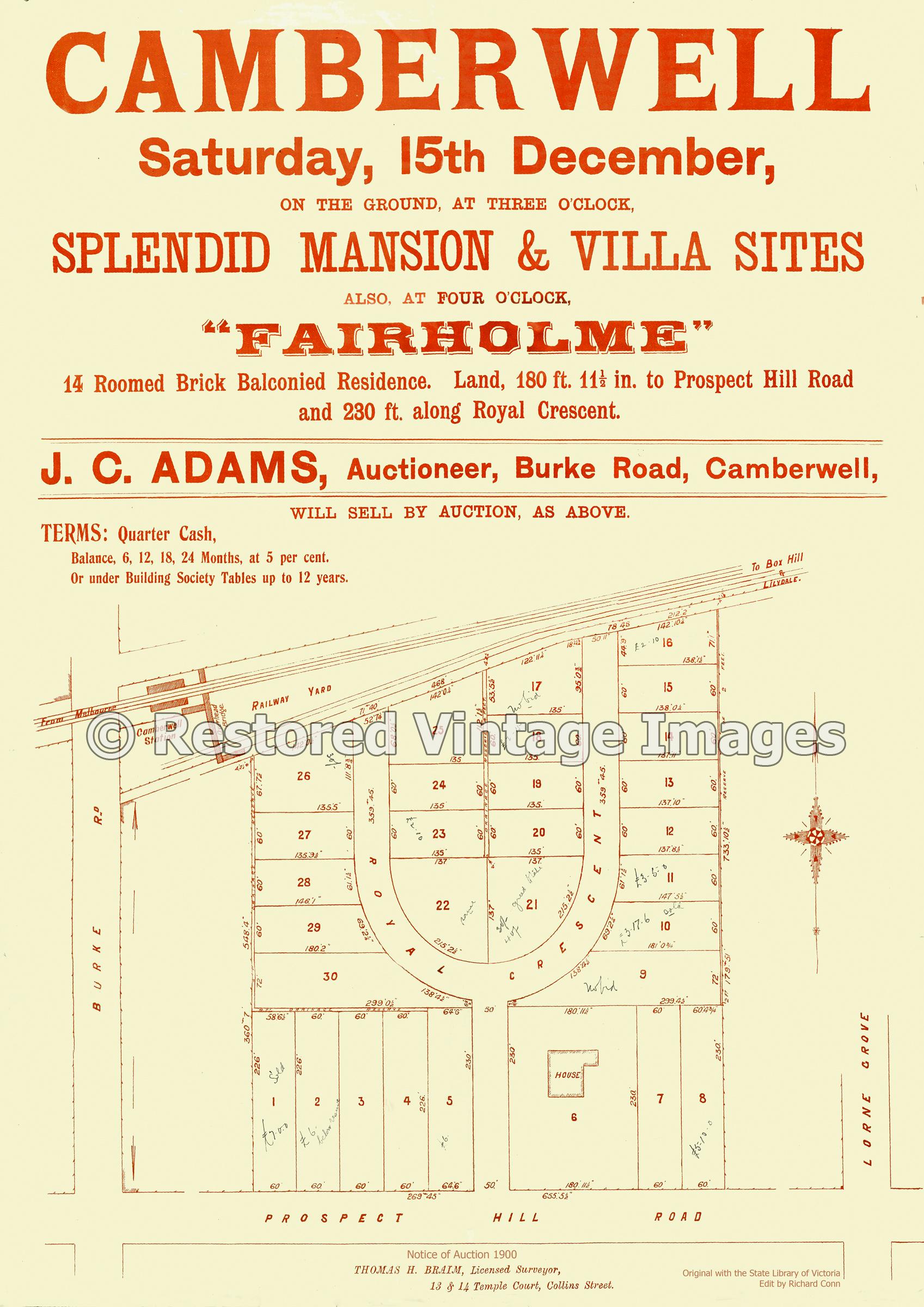Fairholme Estate 16th December 1900 – Camberwell