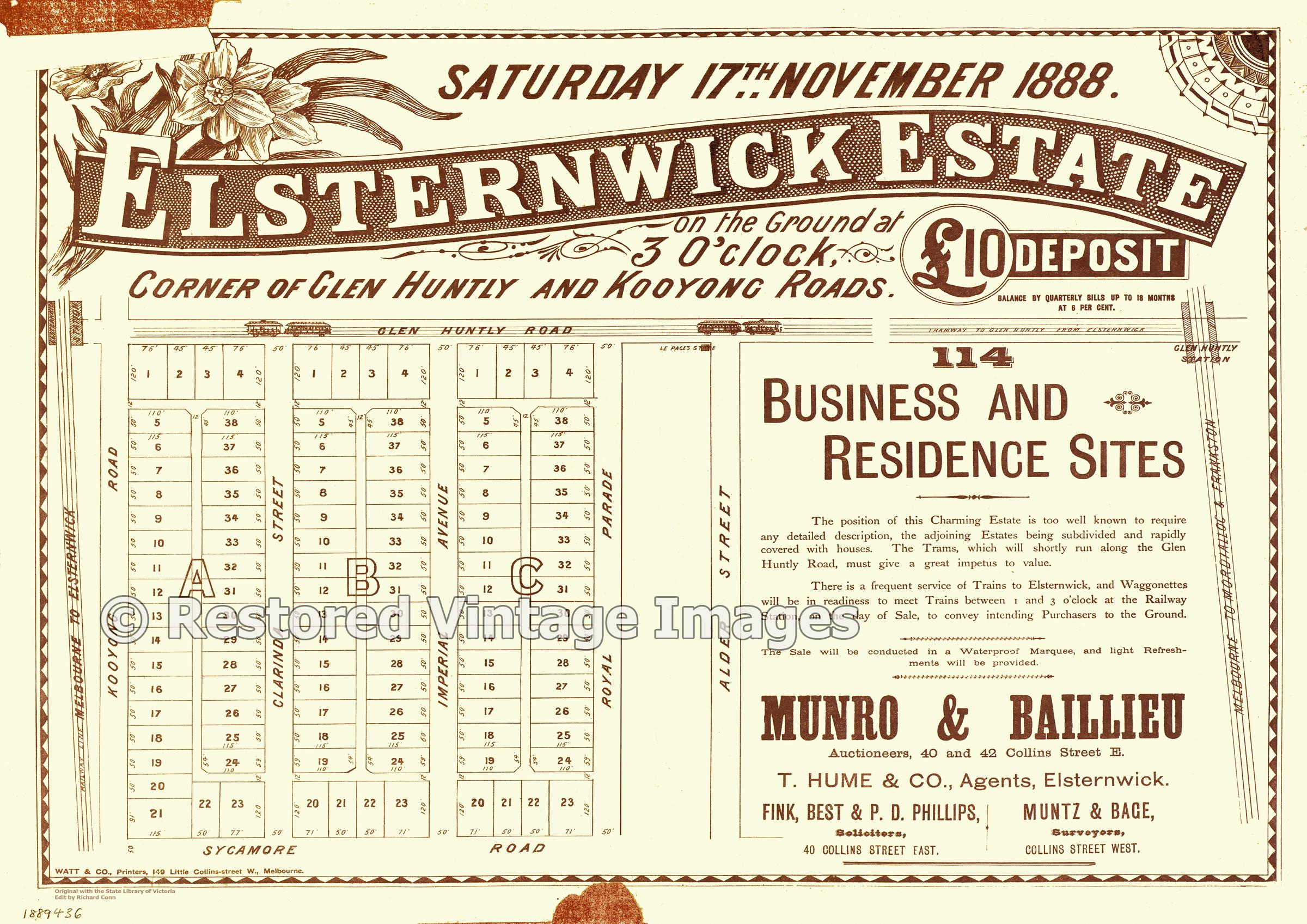 Elsternwick Estate 17th November 1888