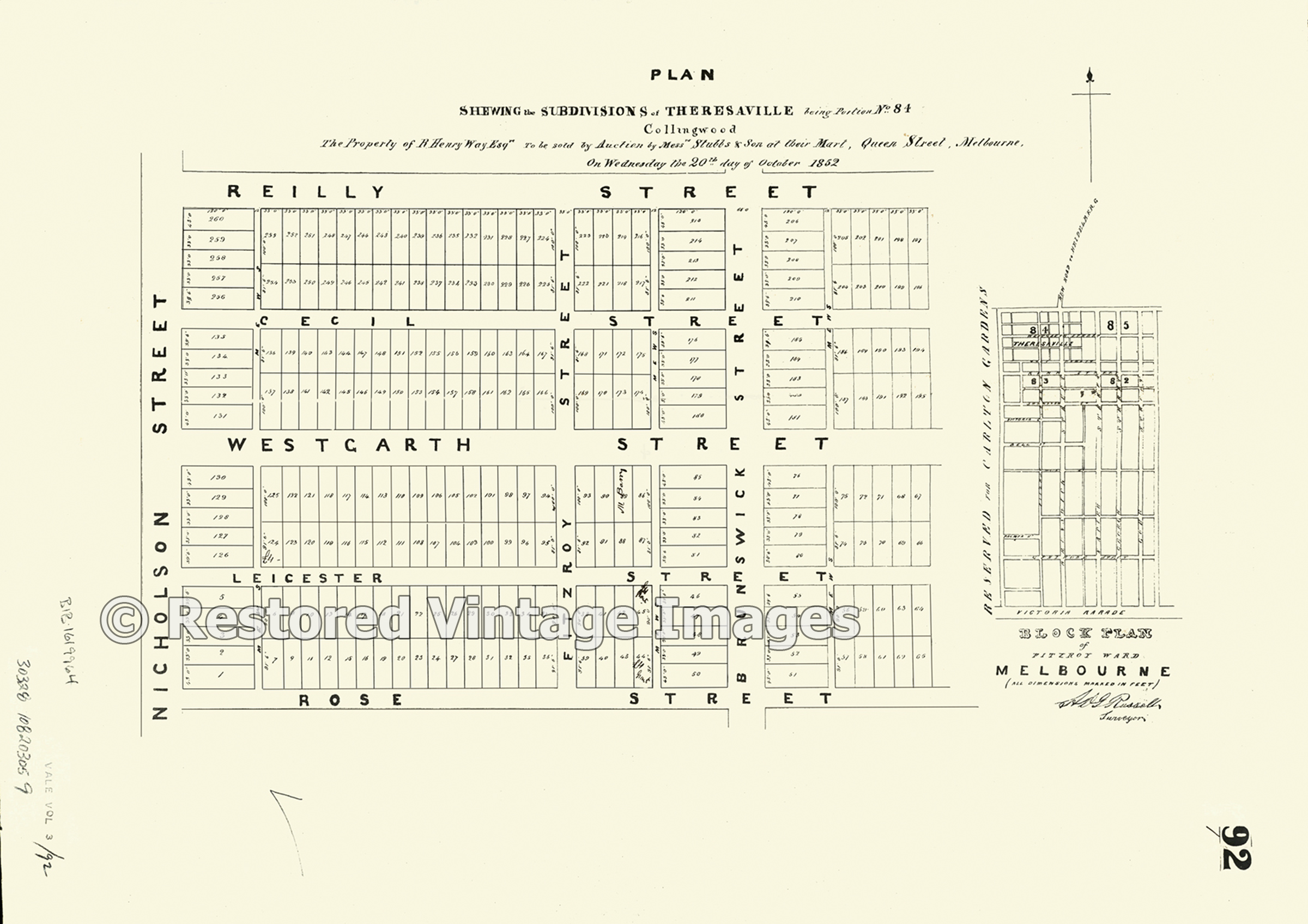 Subdivision Of Theresaville Collingwood 1852 – Fitzroy
