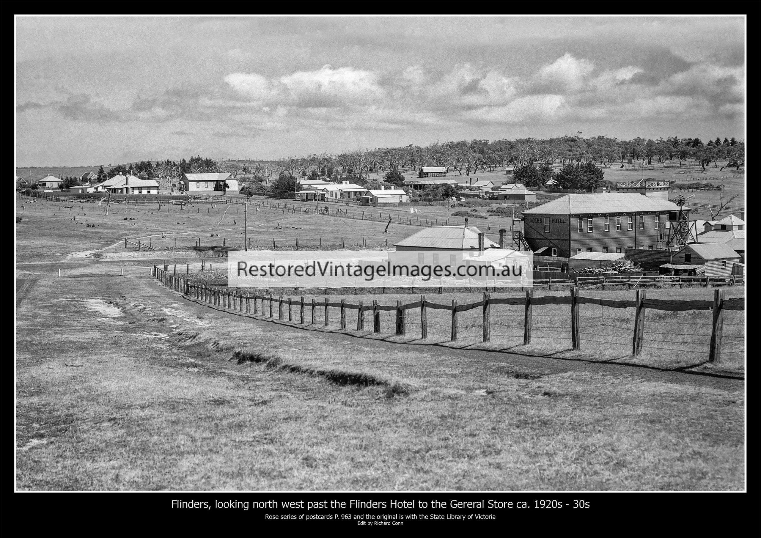 Flinders Victoria – Panorama Looking North West Past The Hotel To The General Store Ca. 1920s To 30s