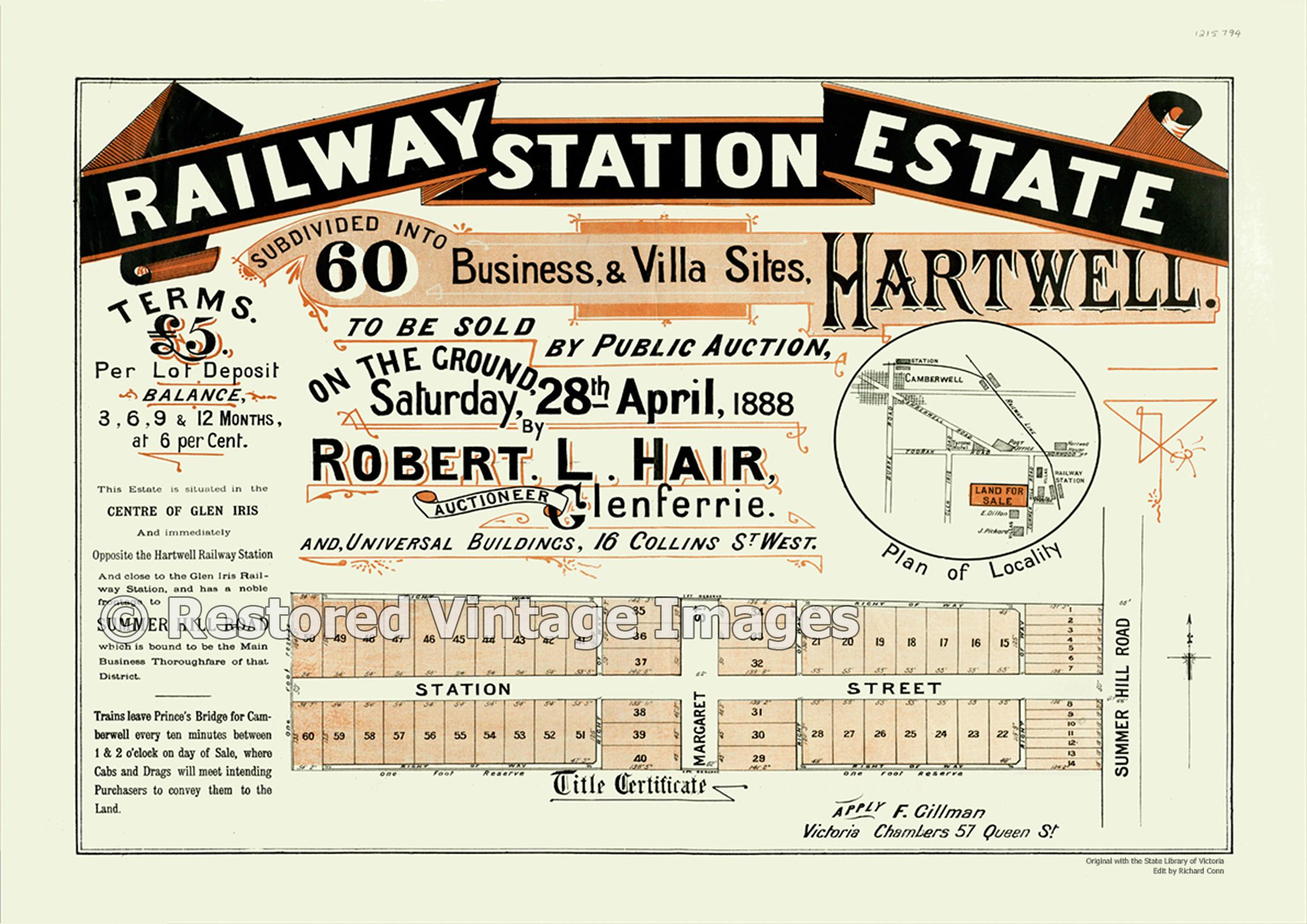 Railway Station Estate Hartwell 1888 – Glen Iris