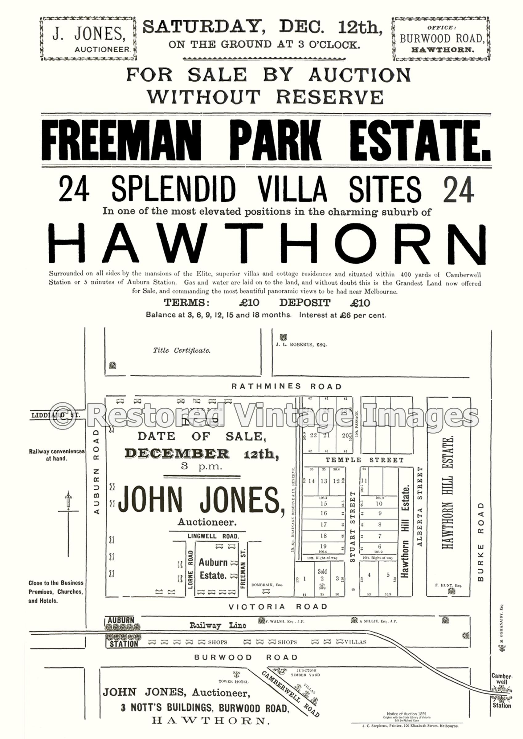 Freeman Park Estate Hawthorn 1891 – Hawthorn East