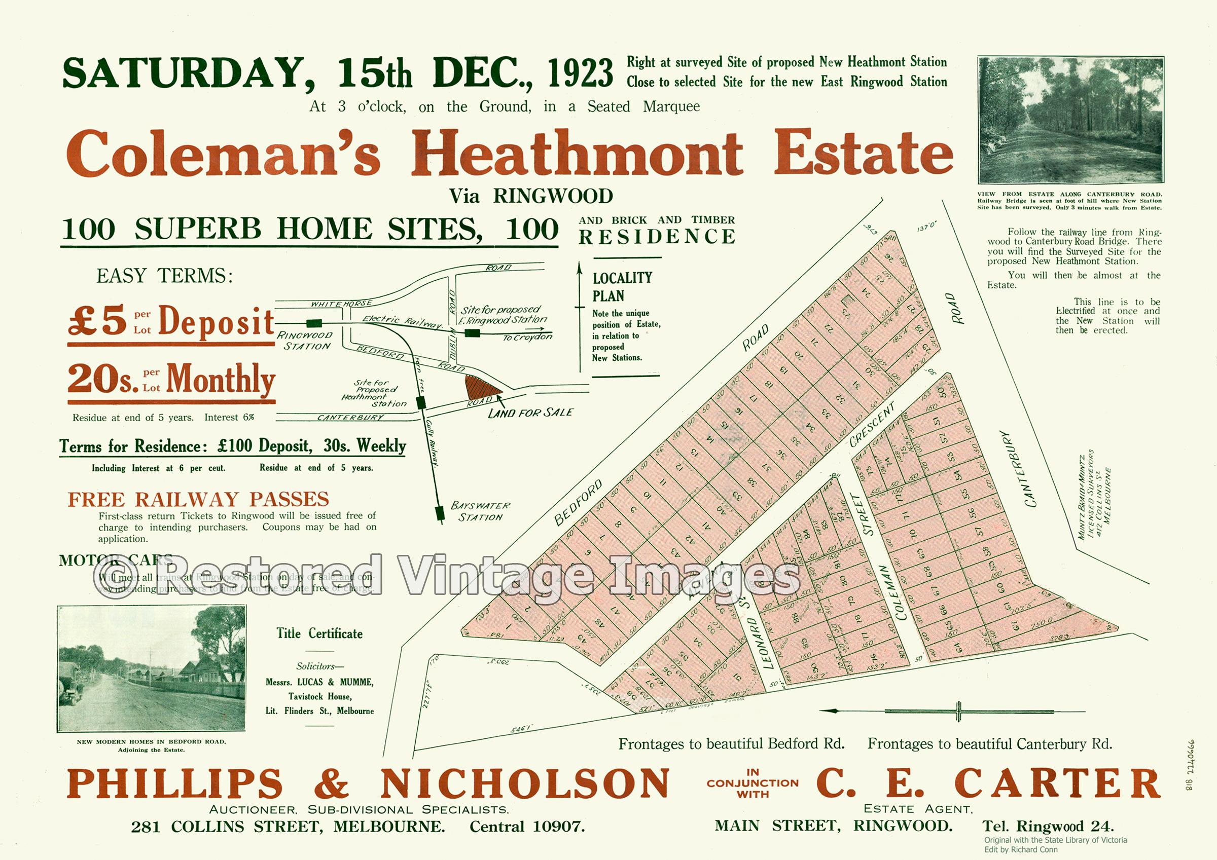 Coleman's Heathmont Estate December 1923 – Heathmont