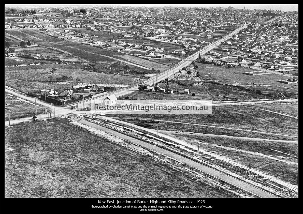 Kew East, Aerial Image Showing The Intersection Of Burke, High And Kilby Roads Ca. 1925