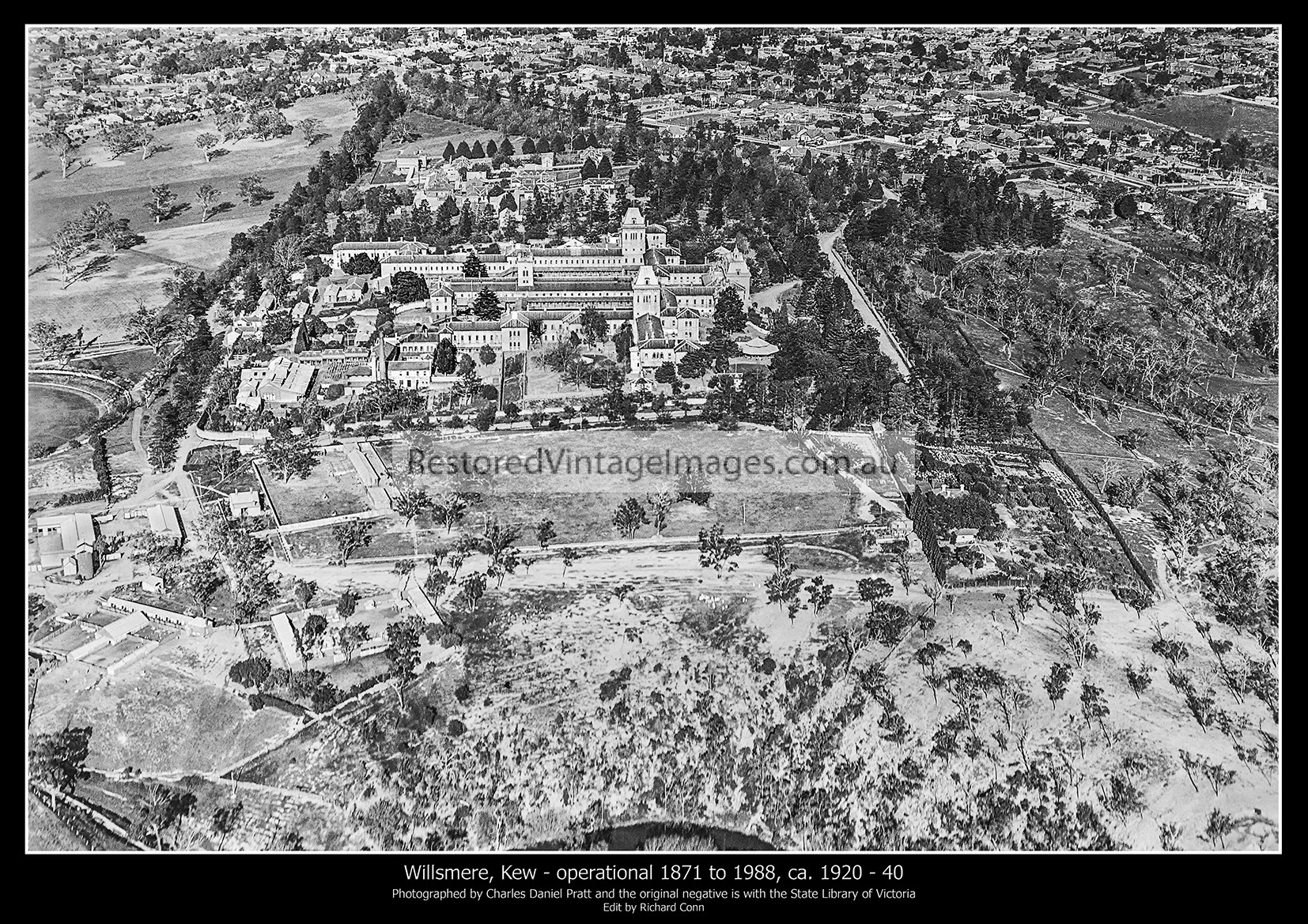 Kew – Willsmere, Aerial Image Looking East From The Yarra Across The Grounds And Buildings Ca. 1920 – 40
