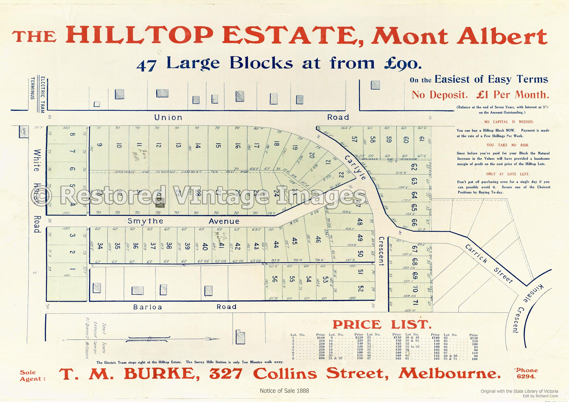 Hilltop Estate Mont Albert 1888 – Balwyn/Mont Albert