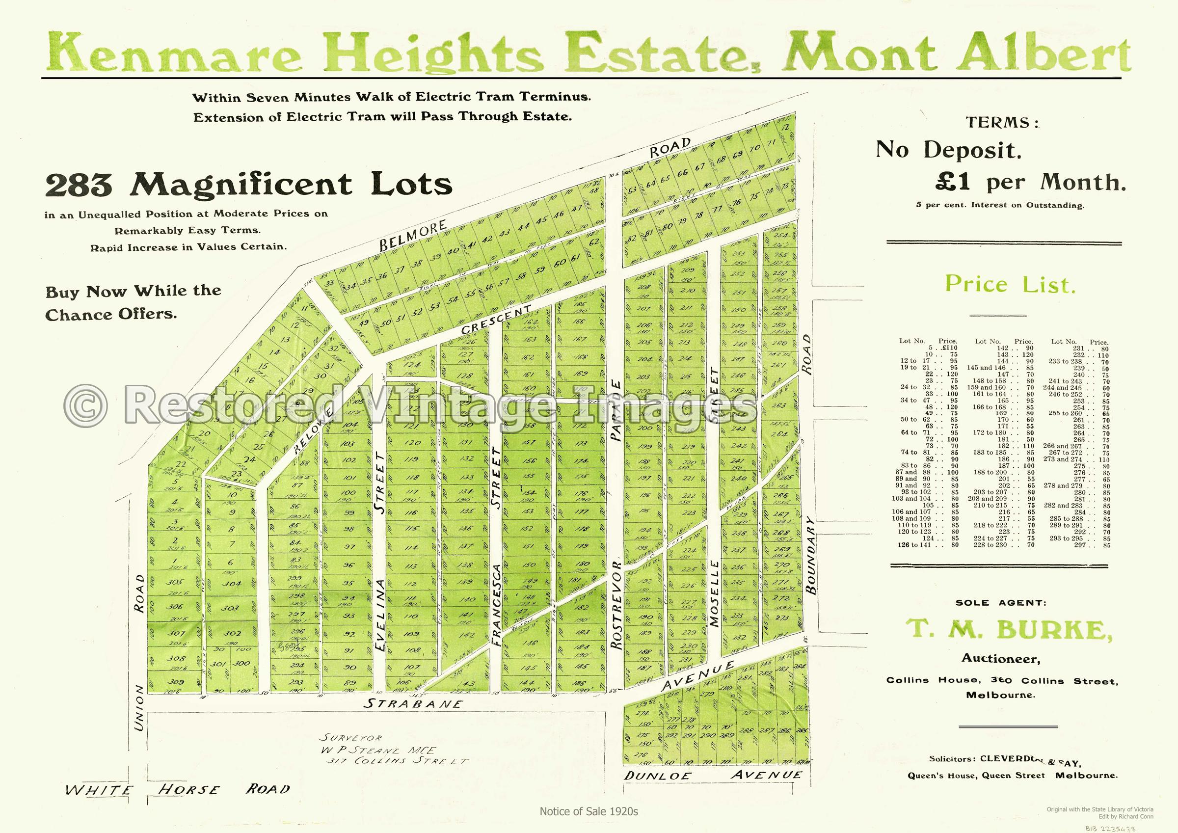 Kenmare Heights Estate Mont Albert 1920s – Mont Albert North