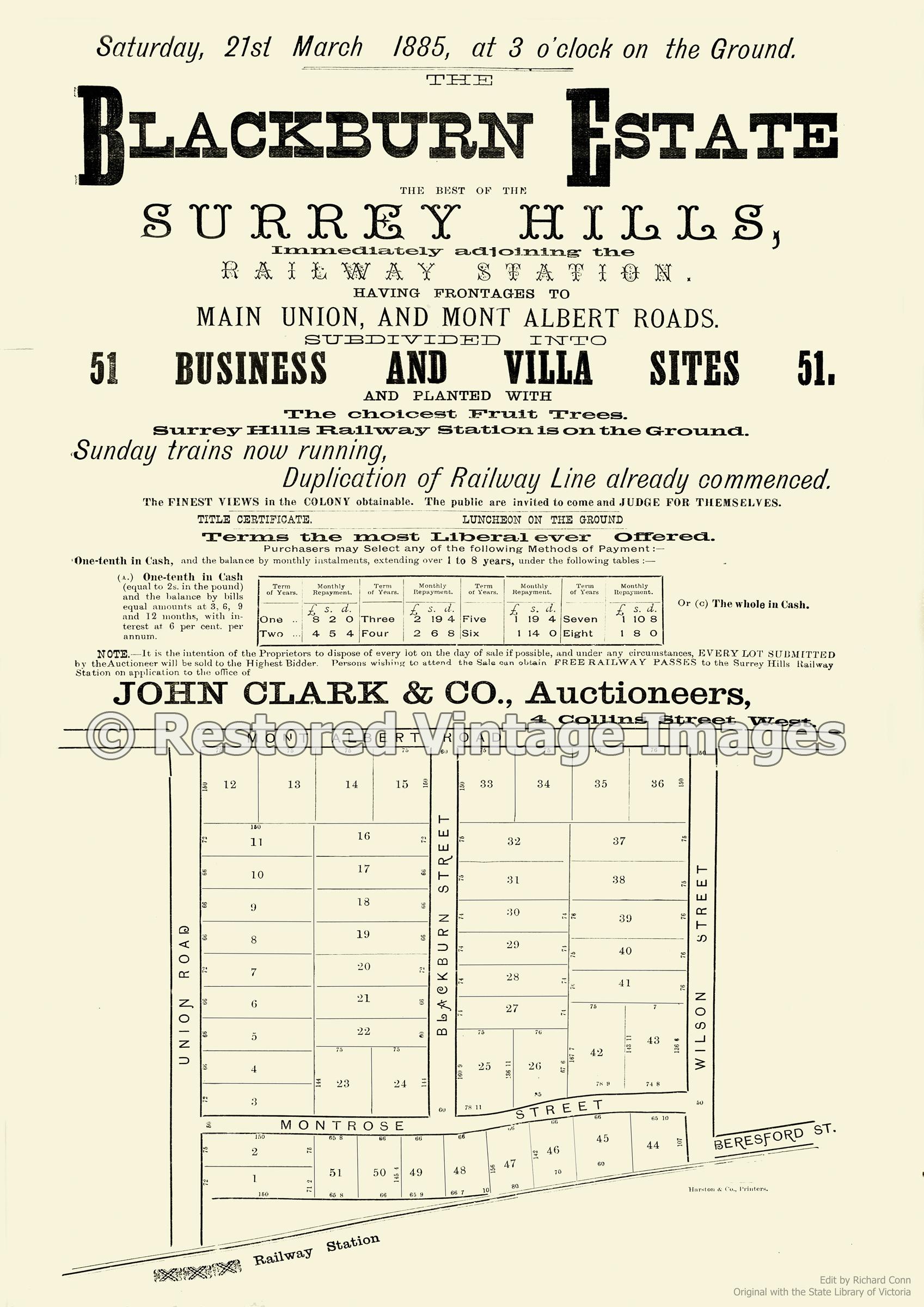 Blackburn Estate 1885 – Surrey Hills