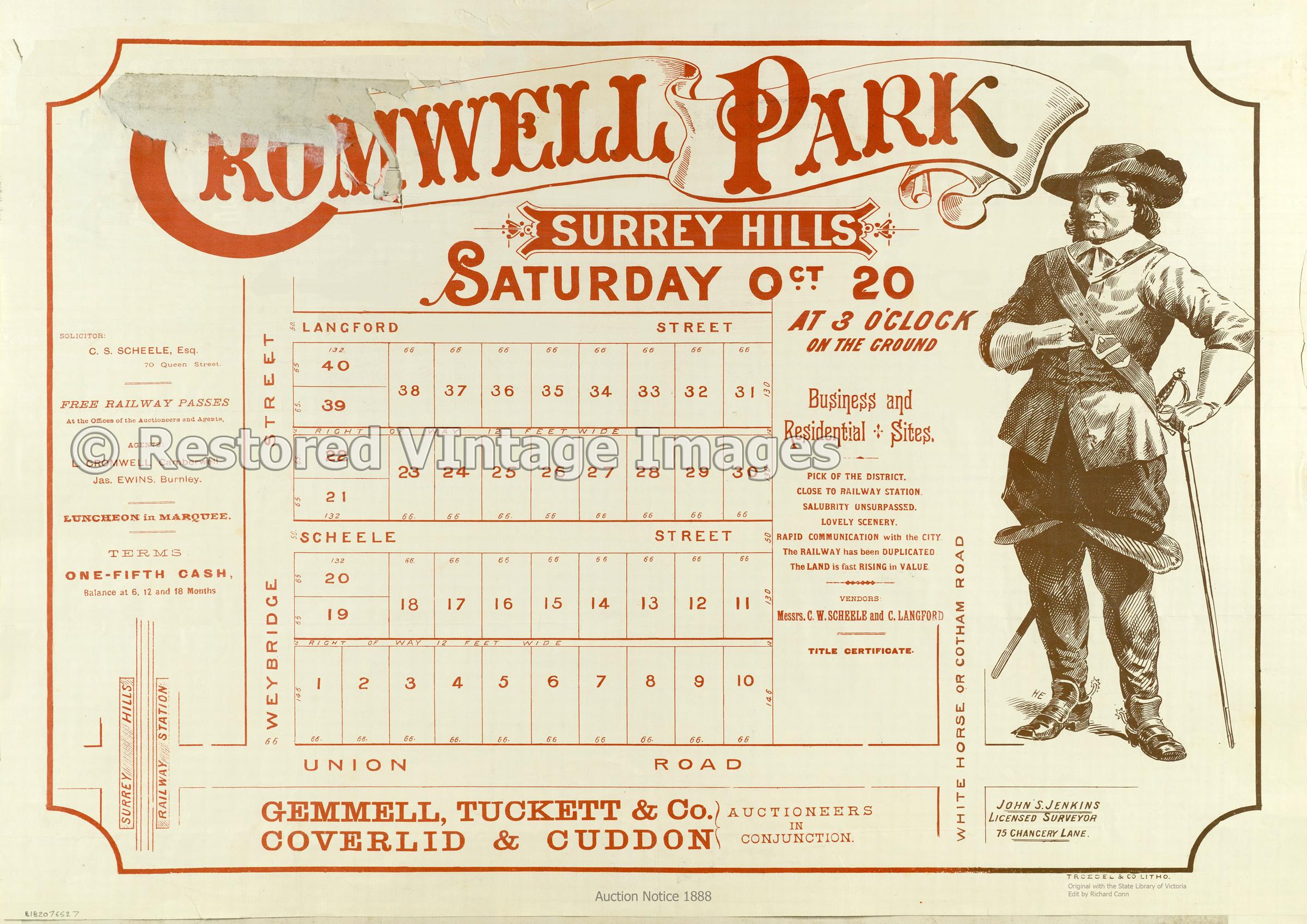 Cromwell Park Estate 1888 – Surrey Hills