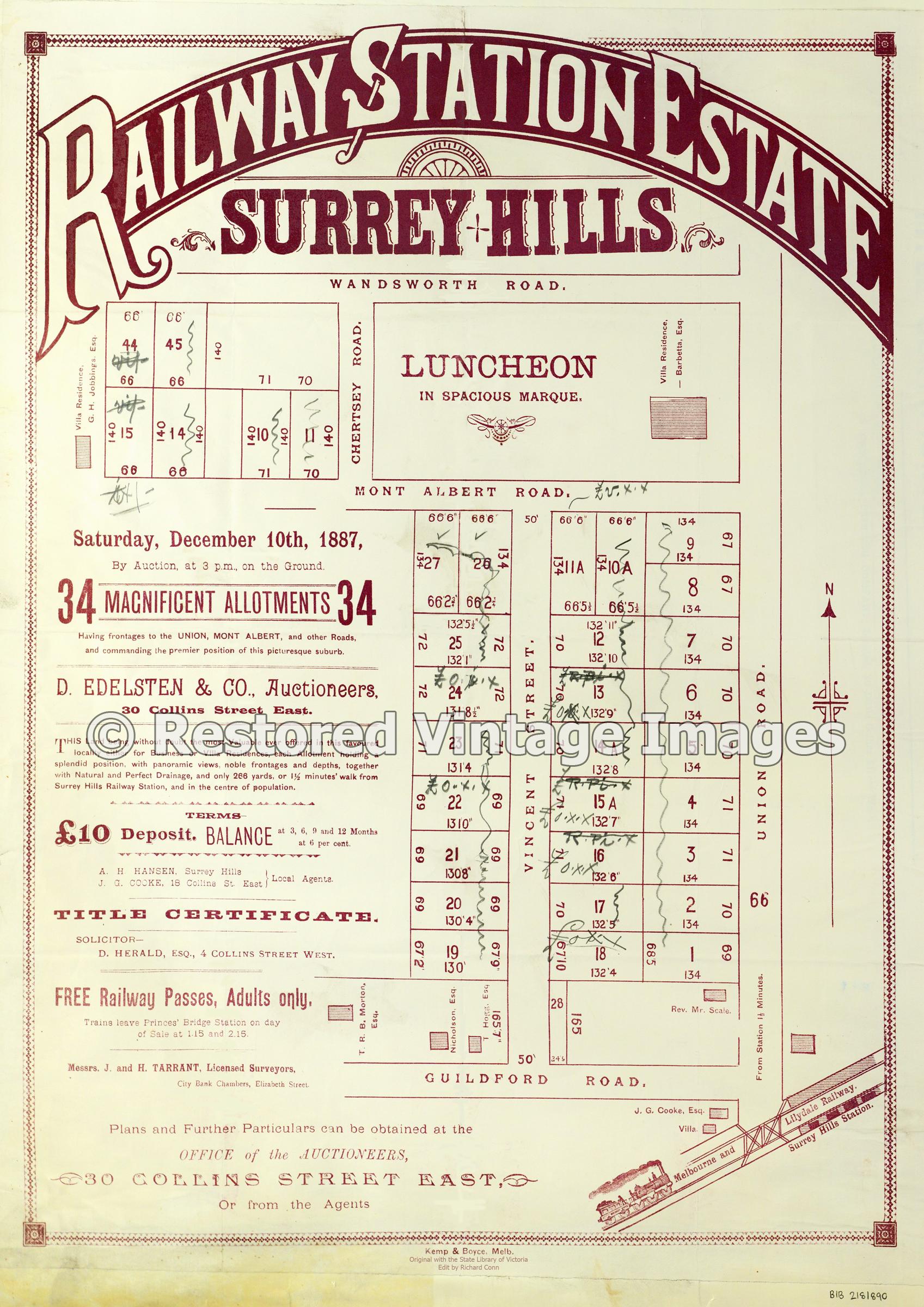 Surrey Hills Auction 1887 – Railway Station Estate