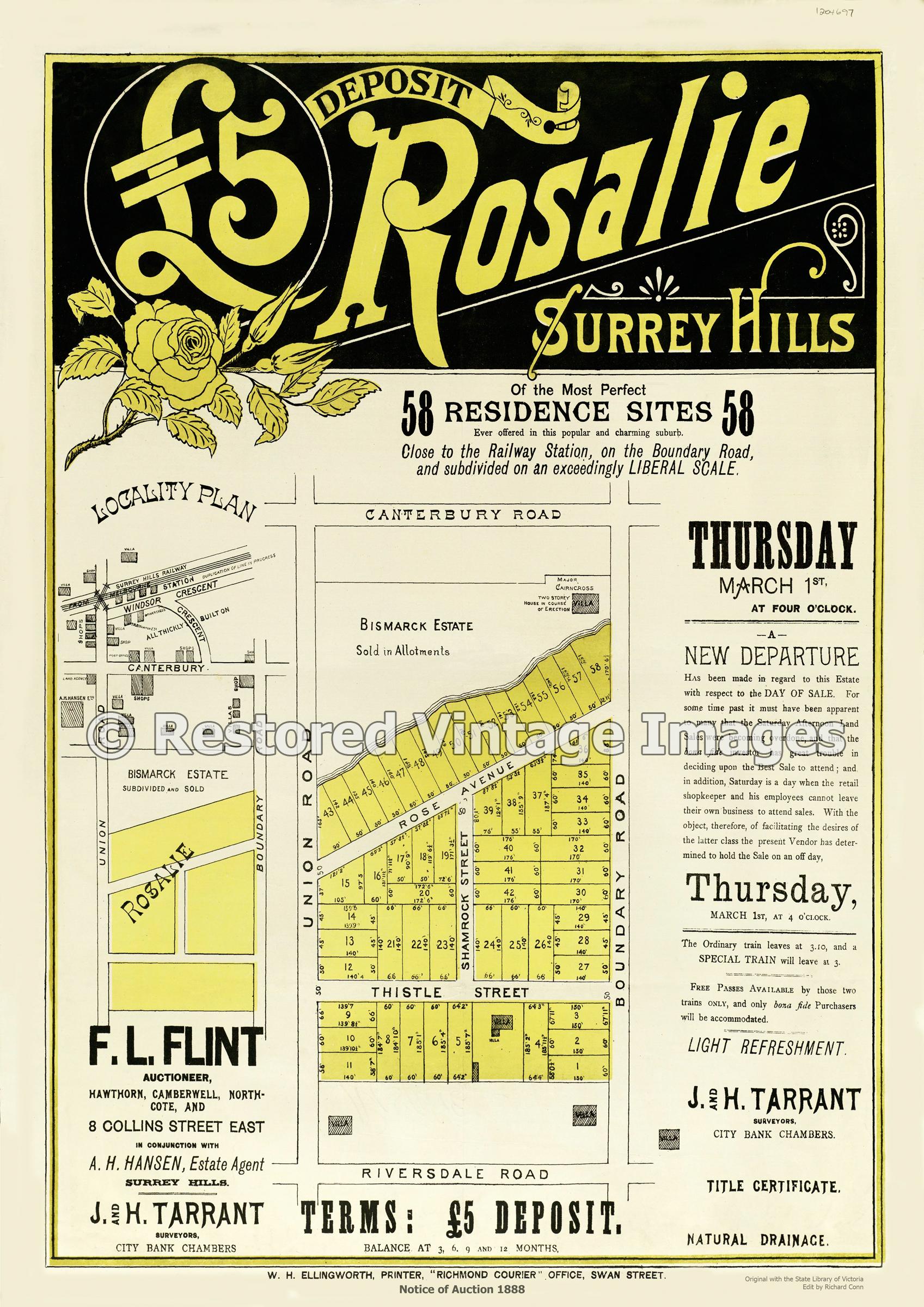 Surrey Hills Auction 1888 – Rosalie Estate