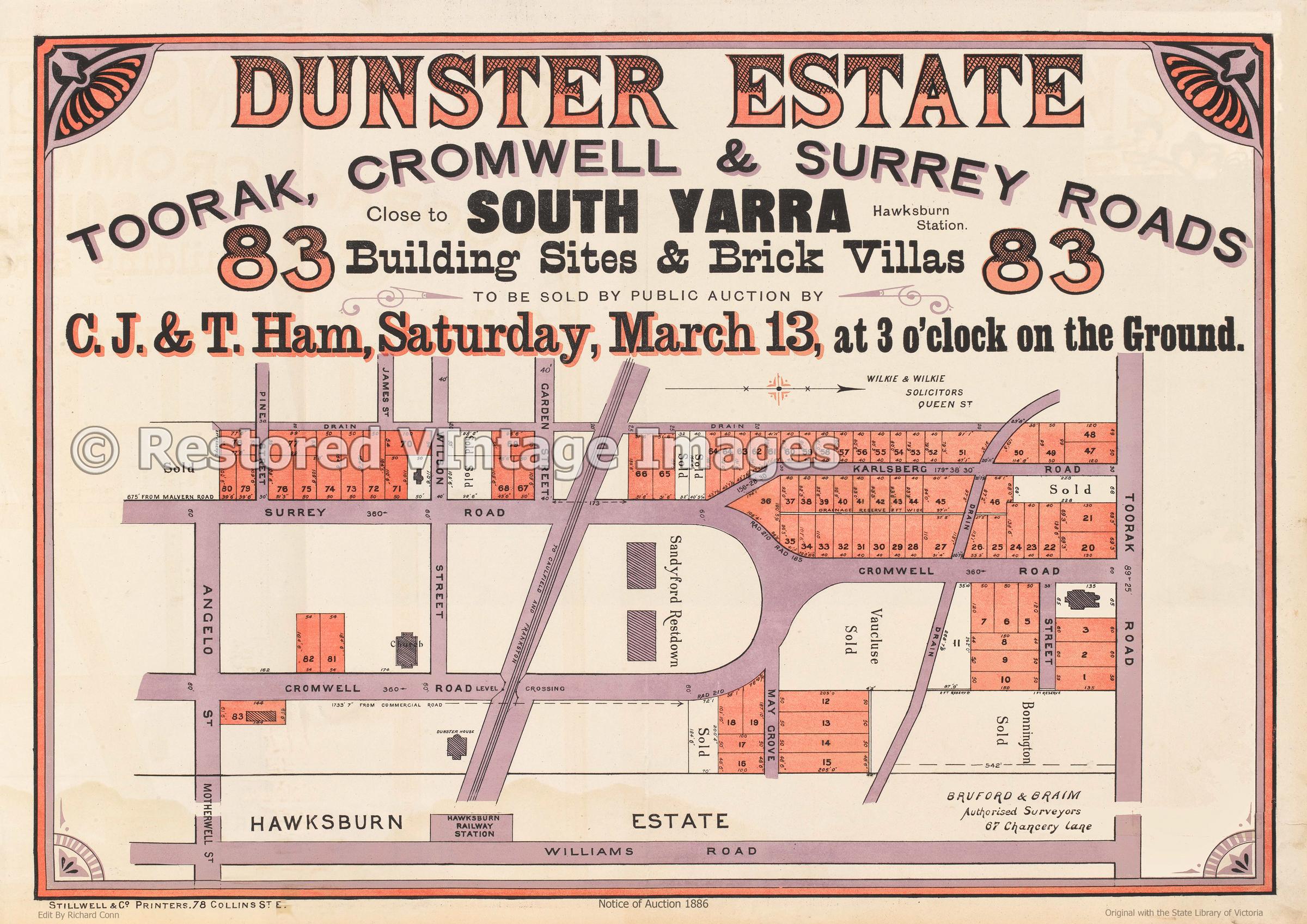 Dunster Estate South Yarra, 1886