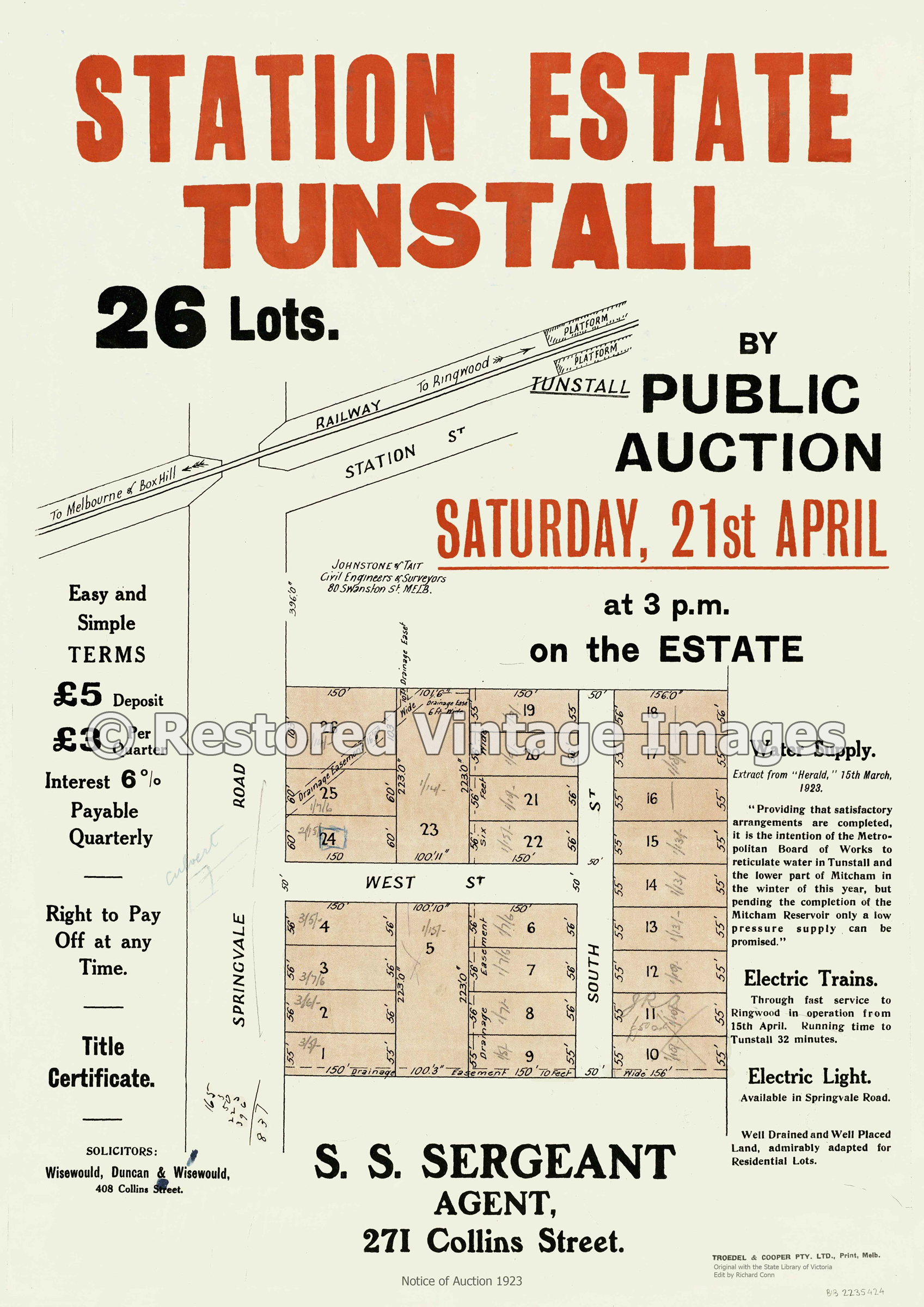 Tunstall Station Estate 1923