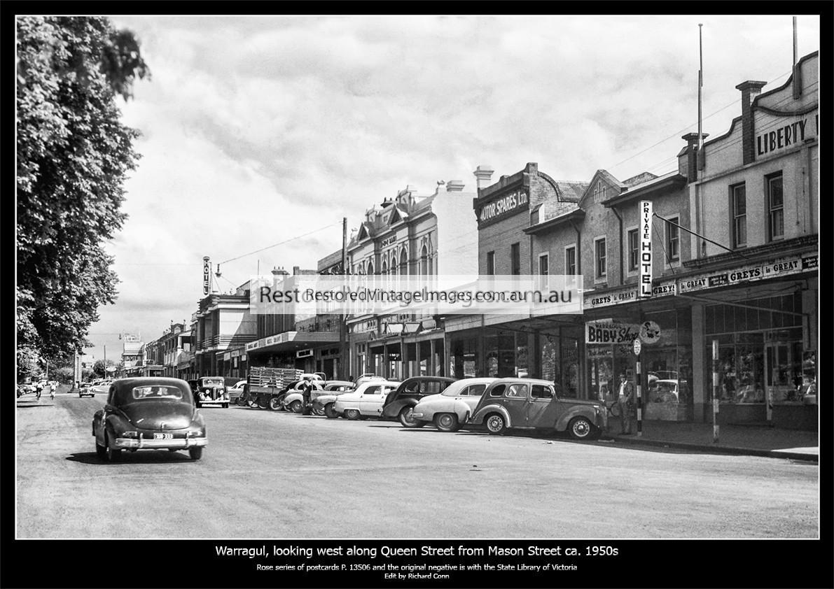 Warragul, Looking West Along Queen Street From Near Mason Ca. 1950s