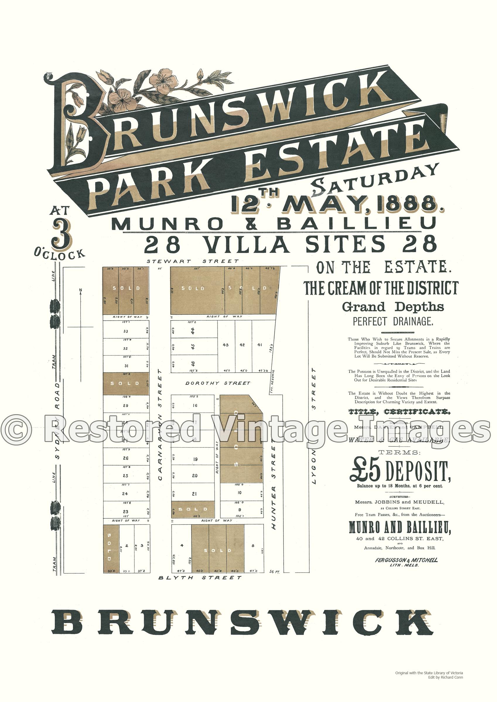 Brunswick Park Estate 12th May 1888 – Brunswick