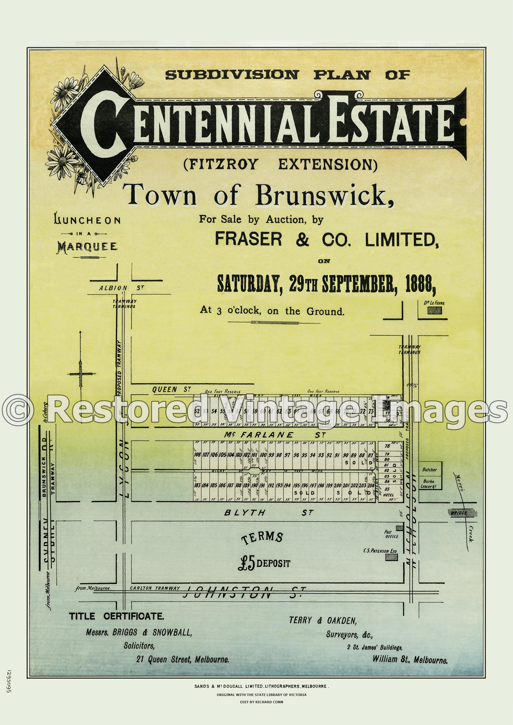 Centennial Estate (Fitzroy Extension) 29th September 1888 – Brunswick East