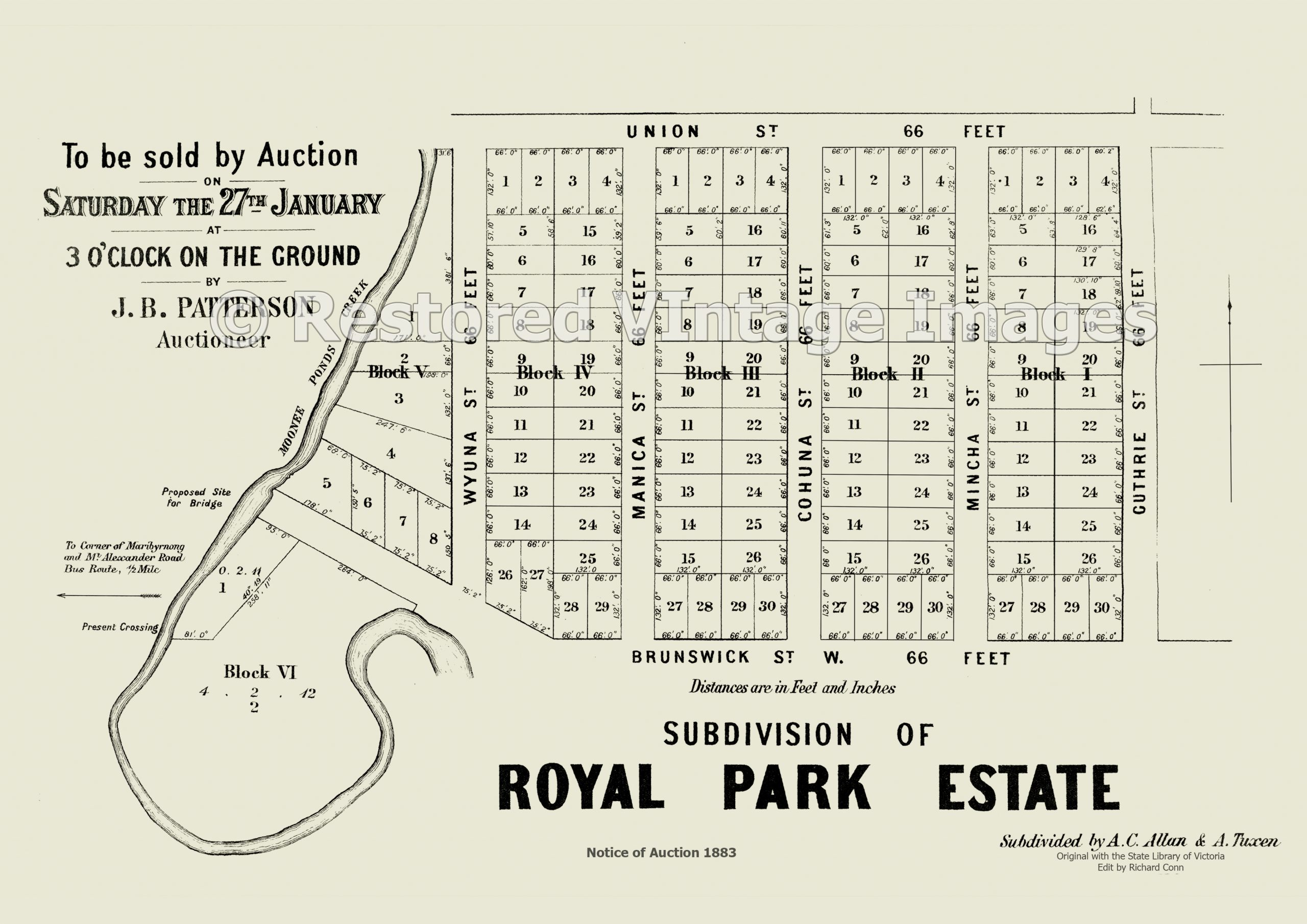 Royal Park Estate 27th January 1883 – Brunswick West