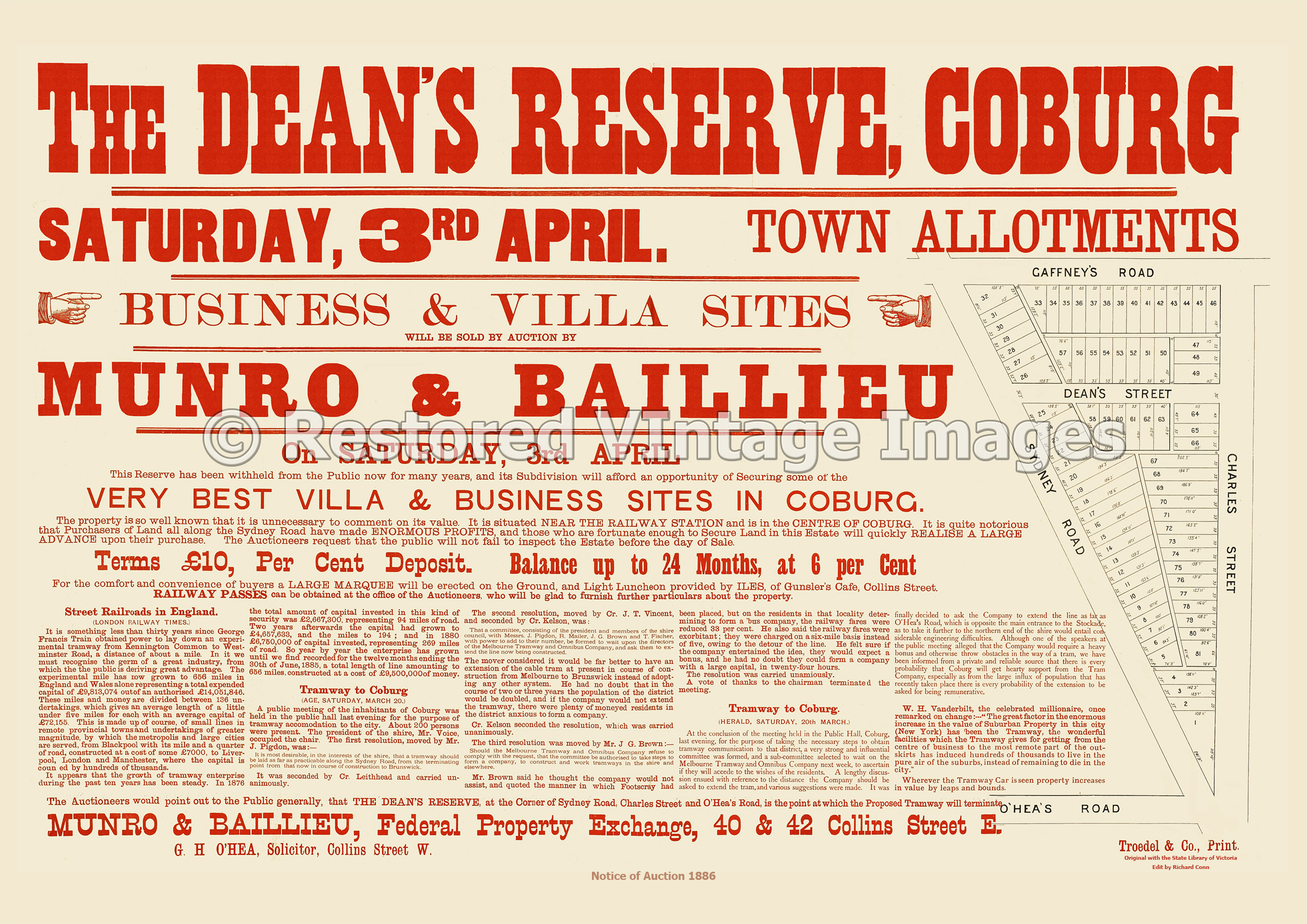 The Dean's Reserve Coburg 3rd April 1886 – Coburg