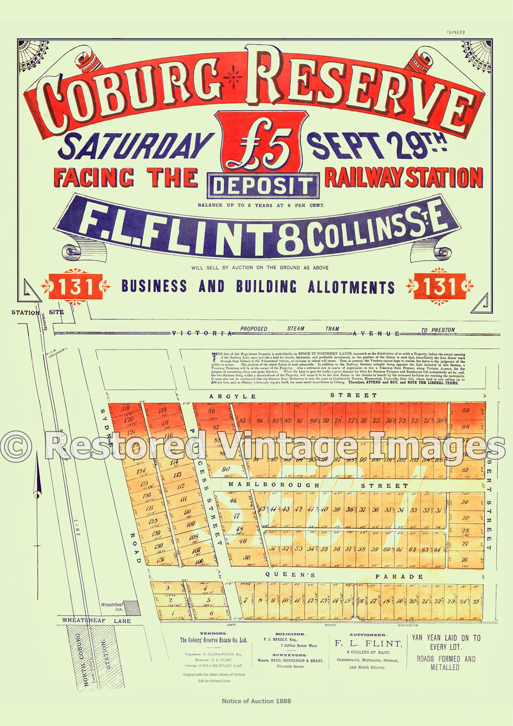 Coburg Reserve 29th September 1888 – Fawkner